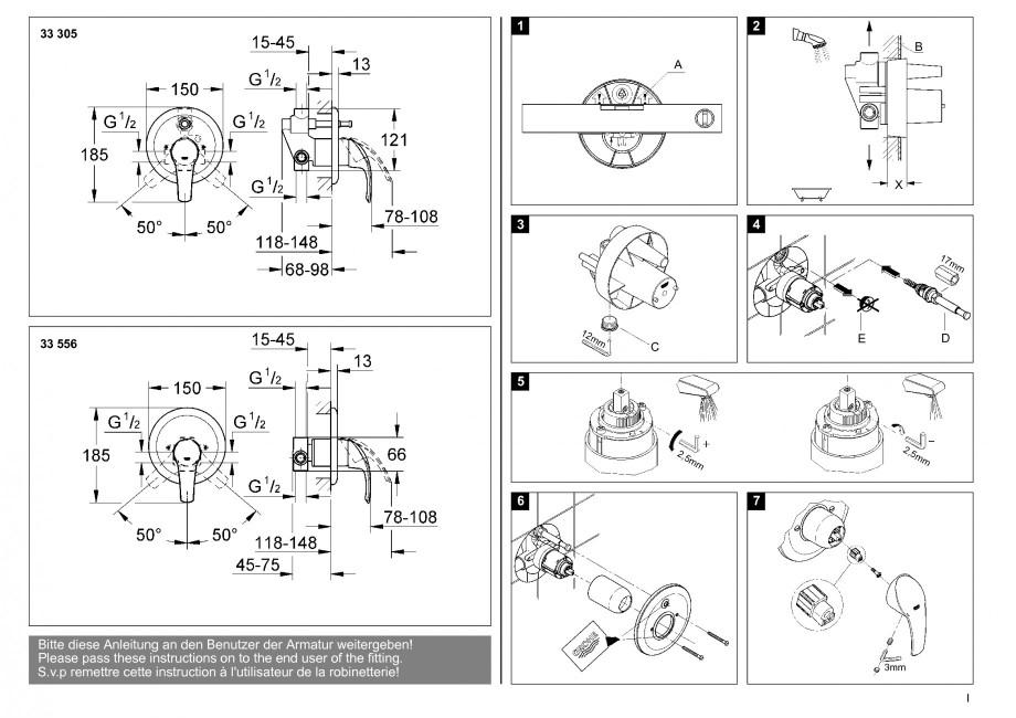instructiuni montaj utilizare baterii baie lavoare bideuri 33305 33556 eurosmart grohe. Black Bedroom Furniture Sets. Home Design Ideas