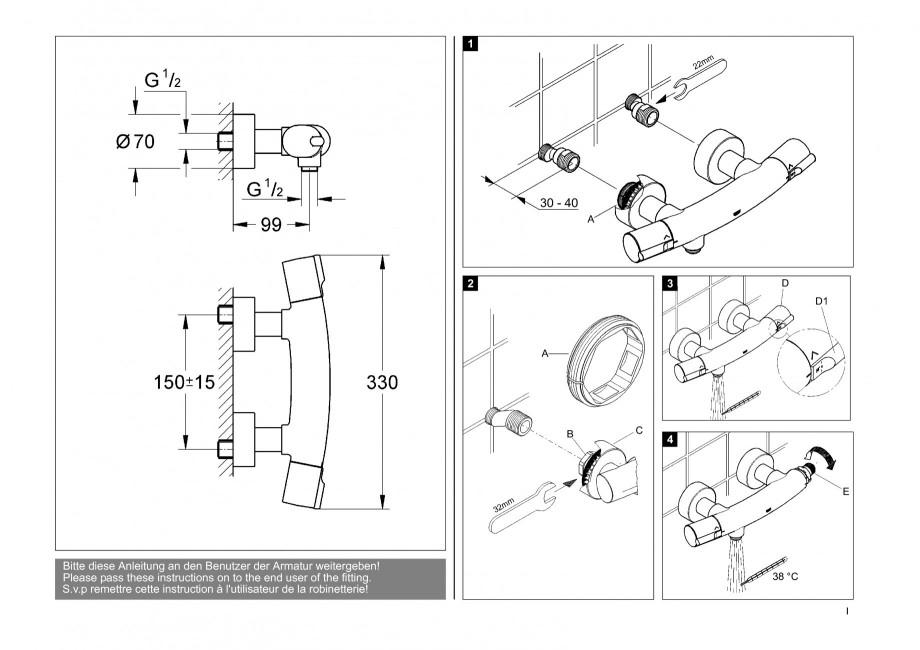 instructiuni montaj utilizare baterii baie lavoare bideuri 34027 tenso grohe baterii pentru. Black Bedroom Furniture Sets. Home Design Ideas