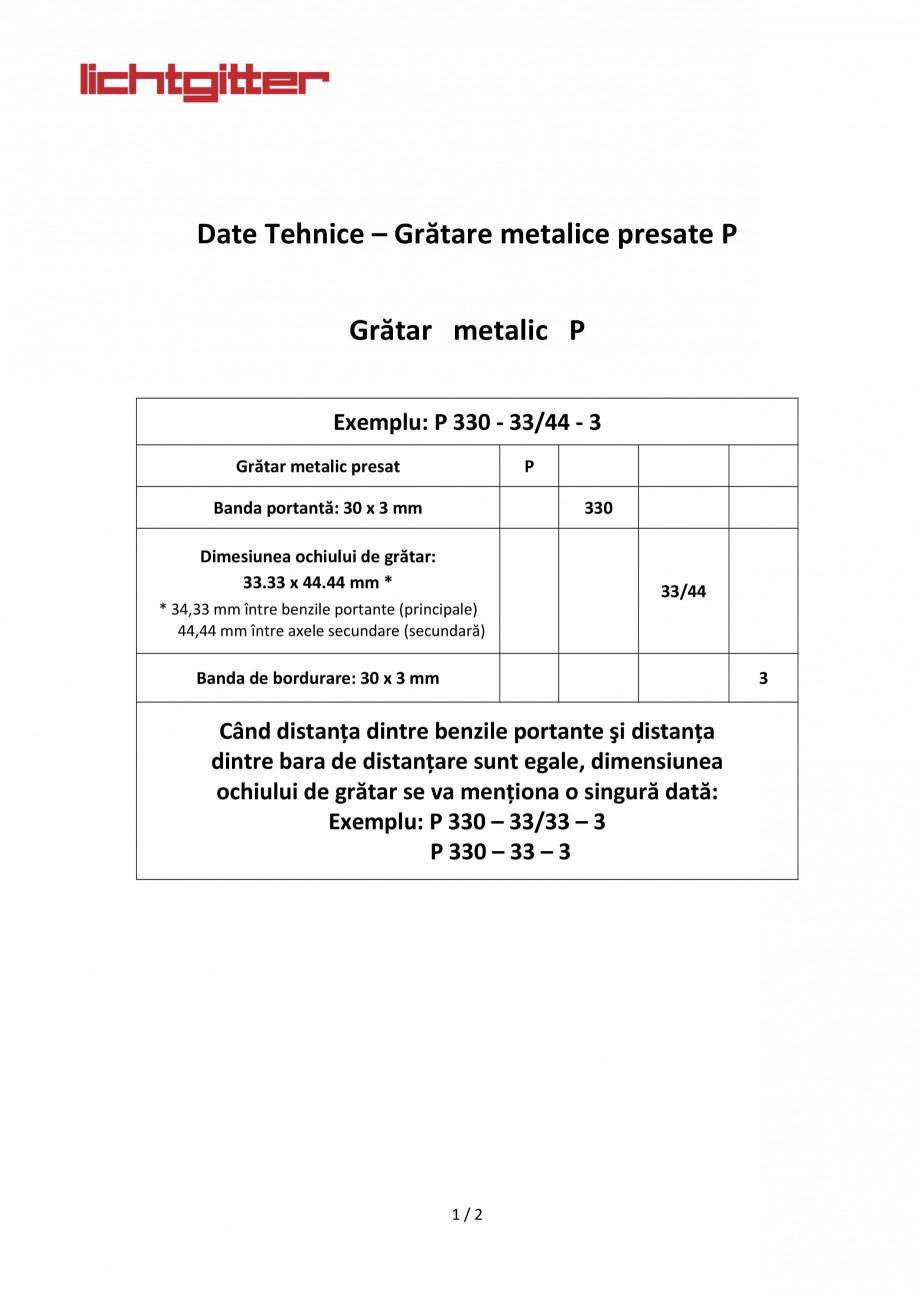 Pagina 1 - Gratare metalice presate P LICHTGITTER RO Fisa tehnica Romana    ...