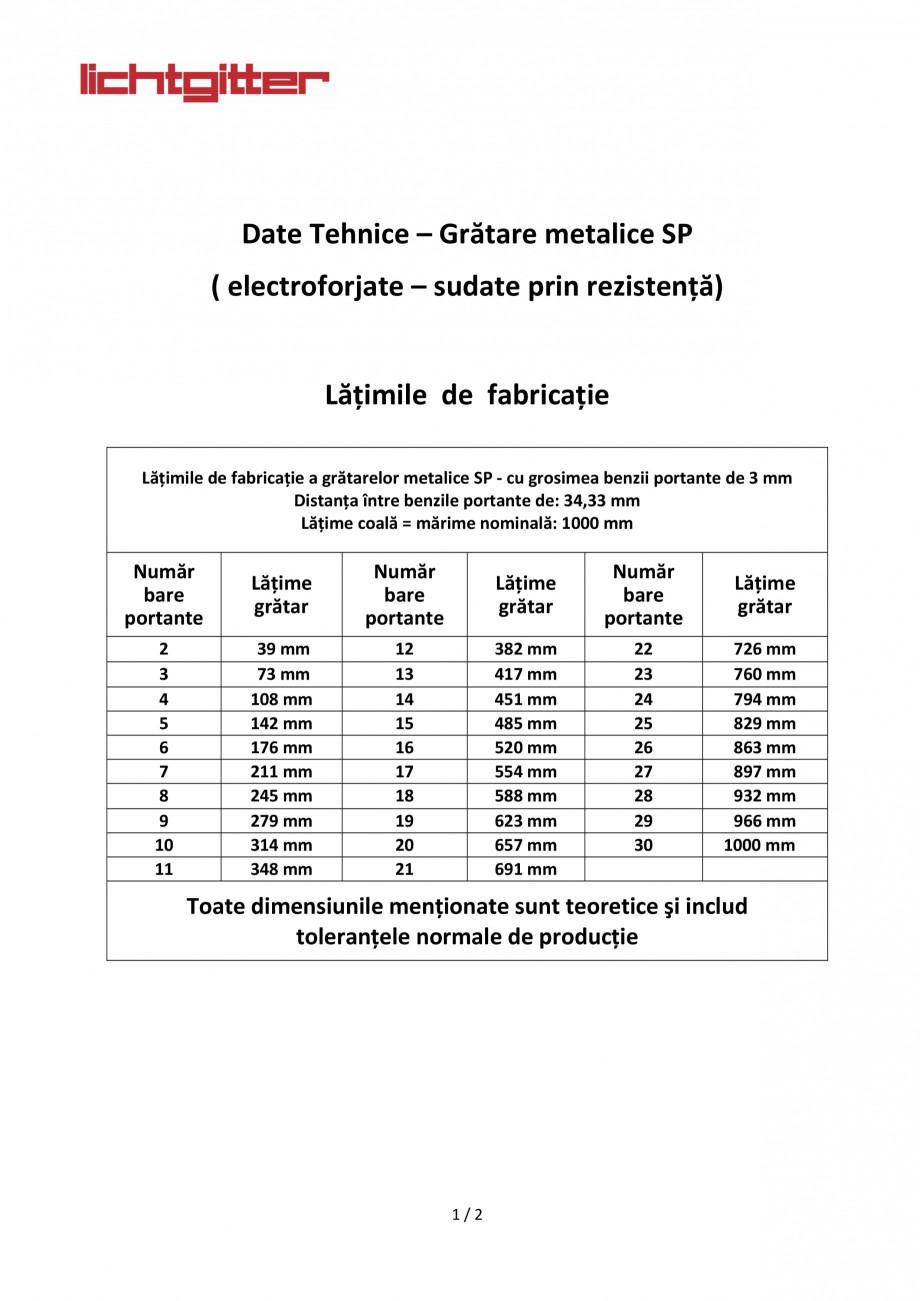Pagina 1 - Gratare metalice sudate prin rezistenta LICHTGITTER RO SP Fisa tehnica Romana    ...