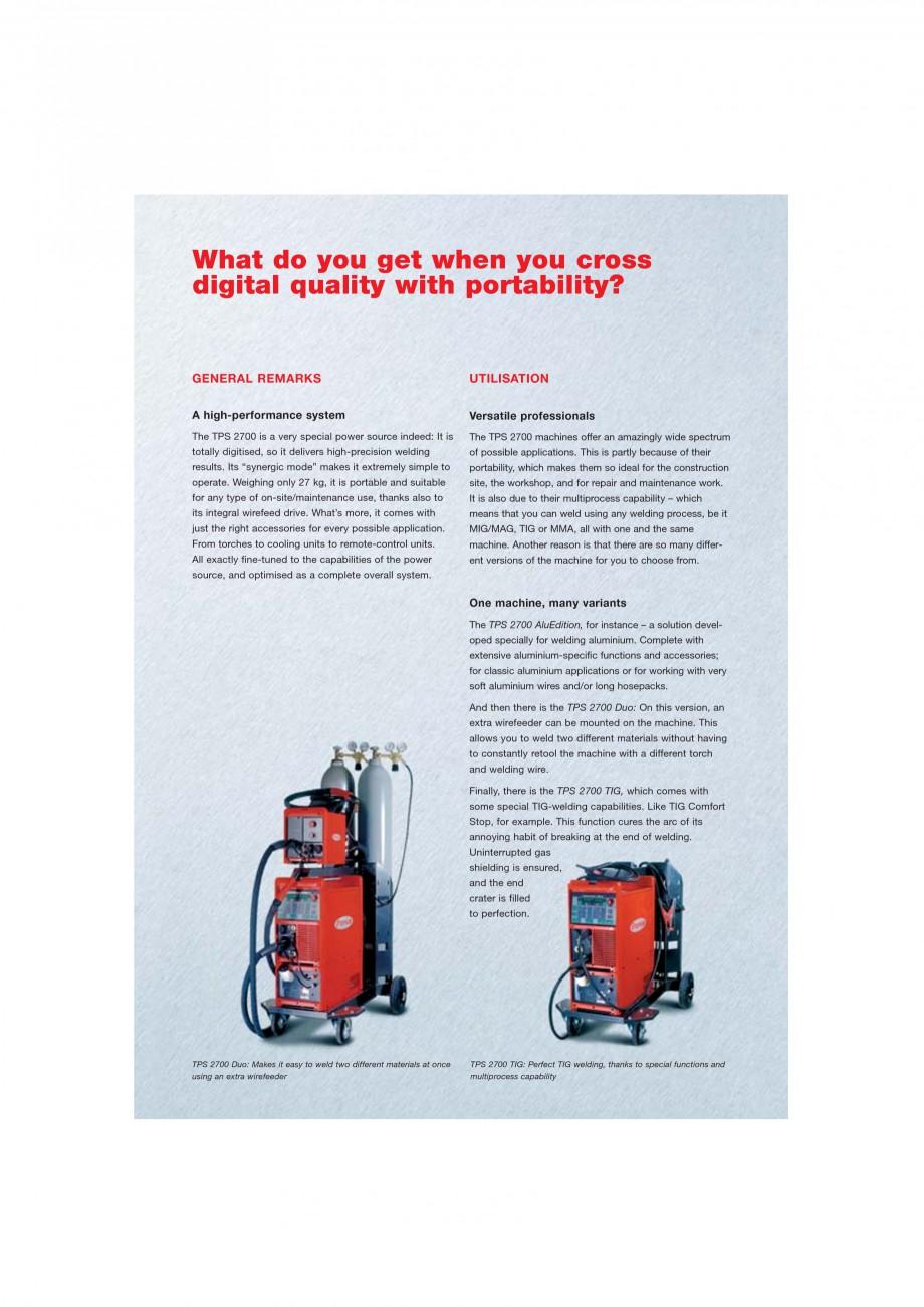 Pagina 2 - Echipament sudura MIG/MAG FRONIUS TransPuls Synergic 2700 Catalog, brosura Engleza e of ...