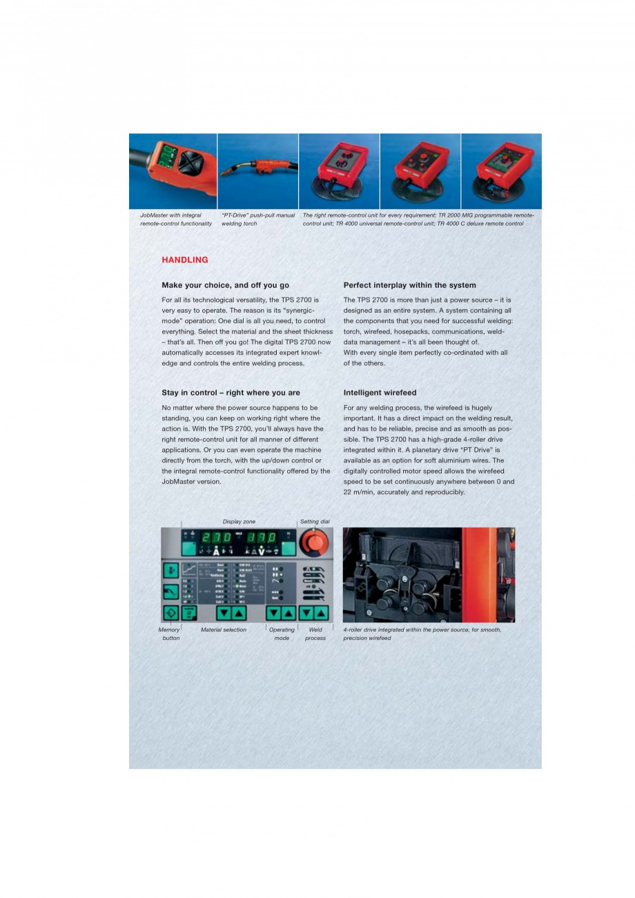 Pagina 5 - Echipament sudura MIG/MAG FRONIUS TransPuls Synergic 2700 Catalog, brosura Engleza gle...