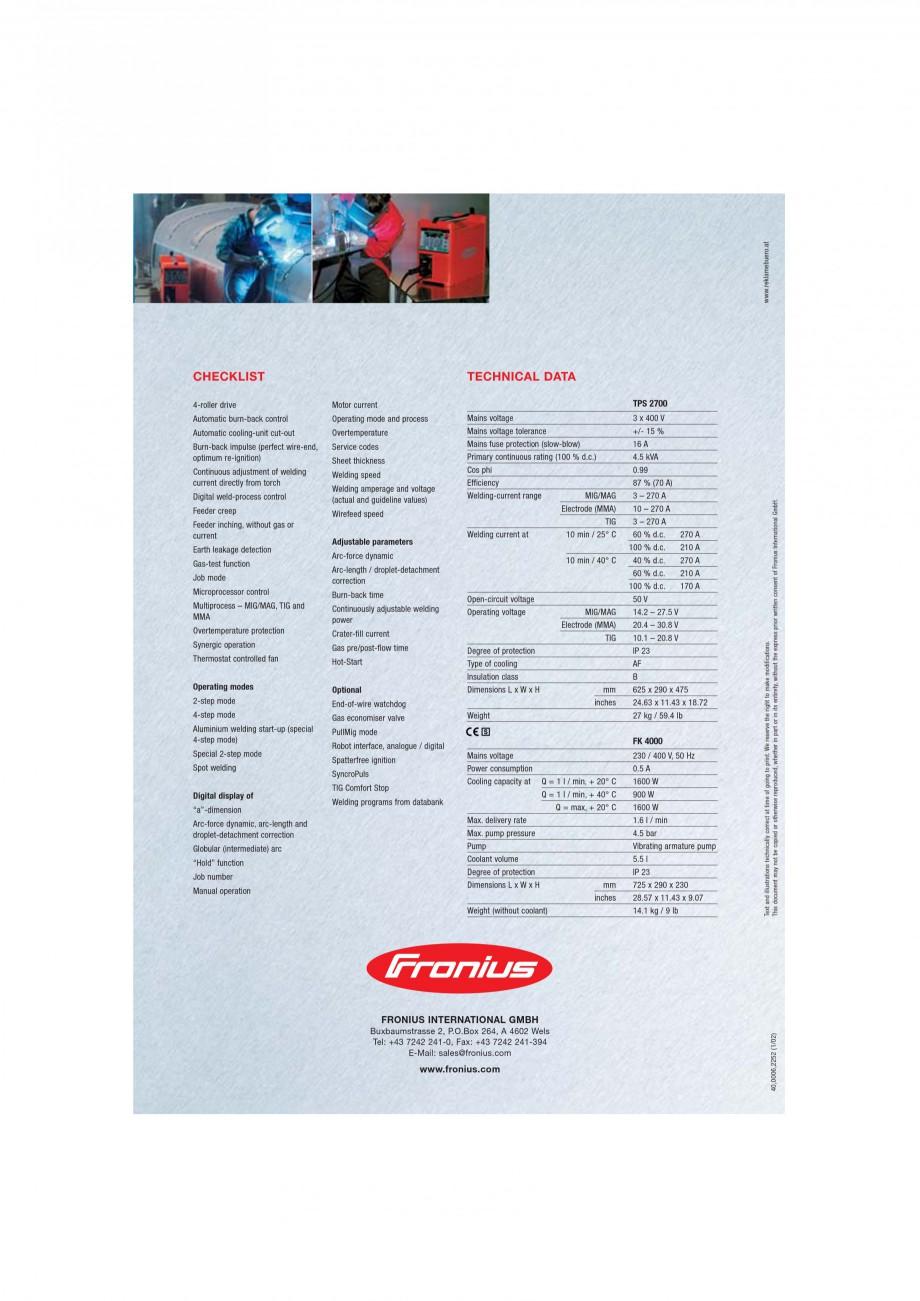 Pagina 6 - Echipament sudura MIG/MAG FRONIUS TransPuls Synergic 2700 Catalog, brosura Engleza...