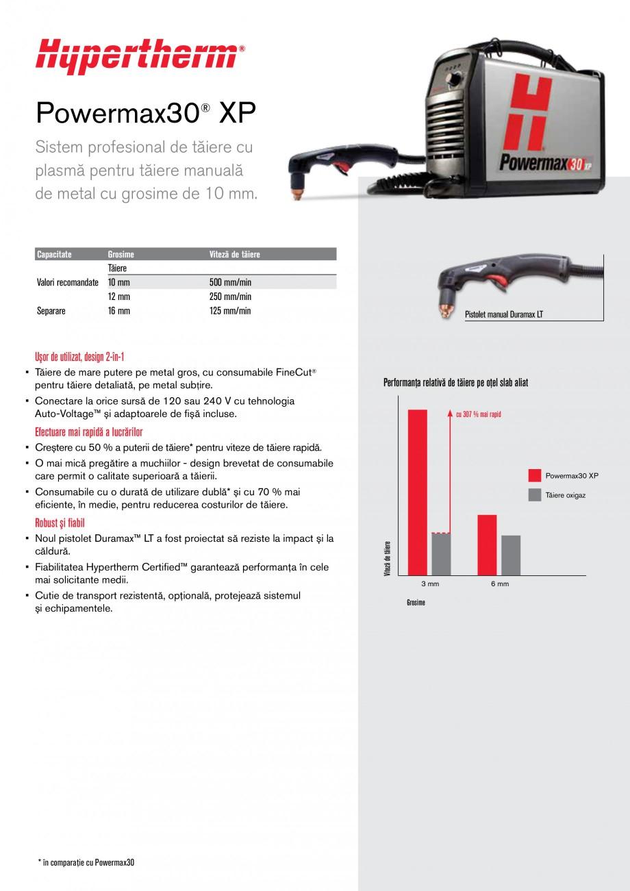 Pagina 1 - Aparat de taiere cu plasma HYPERTHERM Powermax 30 XP Fisa tehnica Romana Powermax30® XP ...