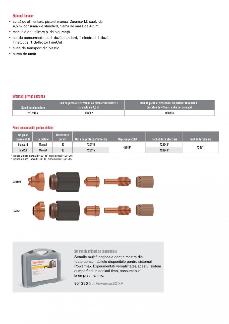 Pagina 2 - Aparat de taiere cu plasma HYPERTHERM Powermax 30 XP Fisa tehnica Romana gaz  * în...