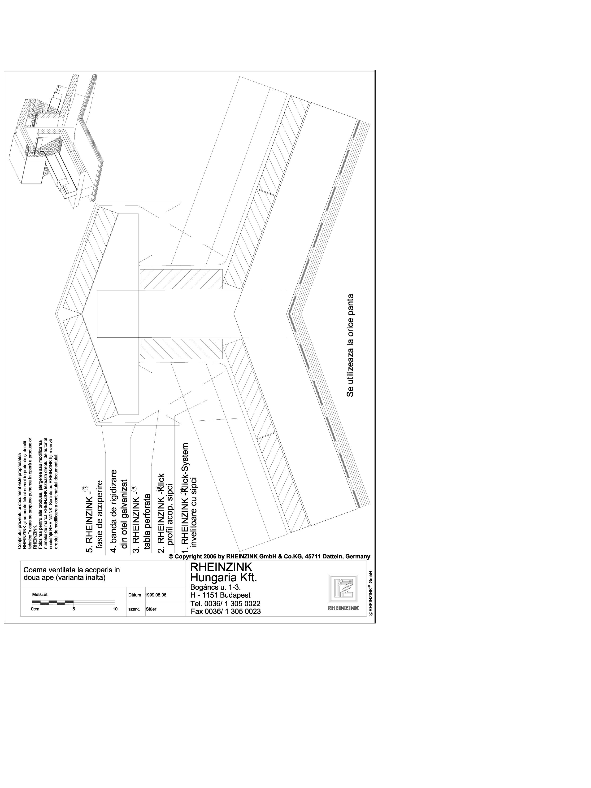 Pagina 1 - CAD-DWG Tabla plana pentru invelitori titan zinc - Coama acoperisului in doua ape, cu...