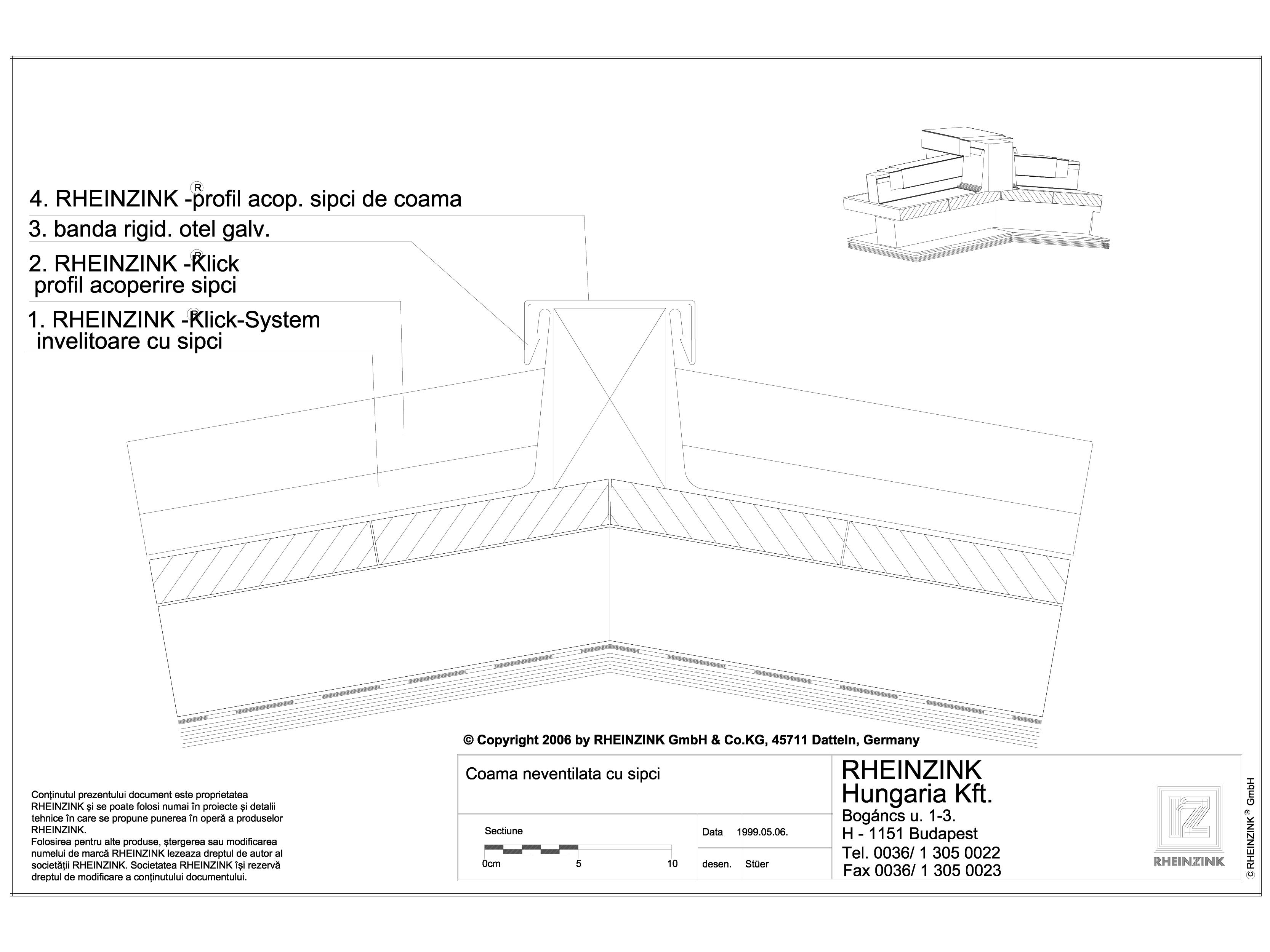 Pagina 1 - CAD-DWG Tabla plana pentru invelitori titan zinc - Coama acoperisului in doua ape, fara...
