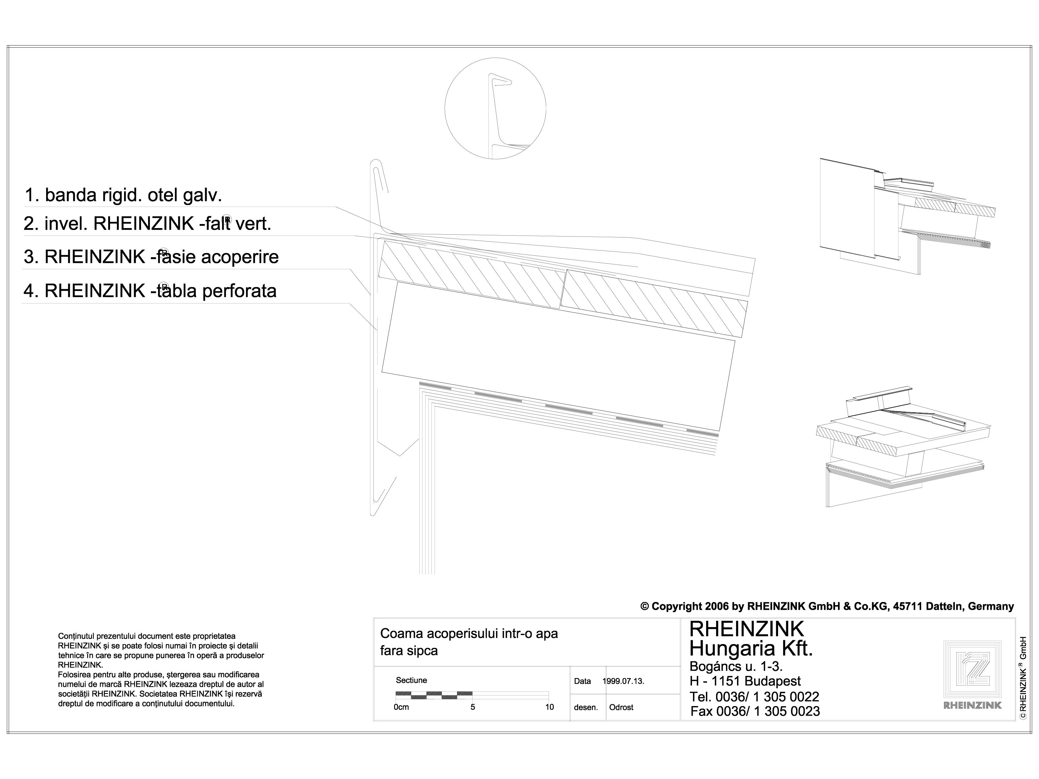 Pagina 1 - CAD-DWG Tabla plana pentru invelitori titan zinc - Coama acoperisului intr-o apa fara...