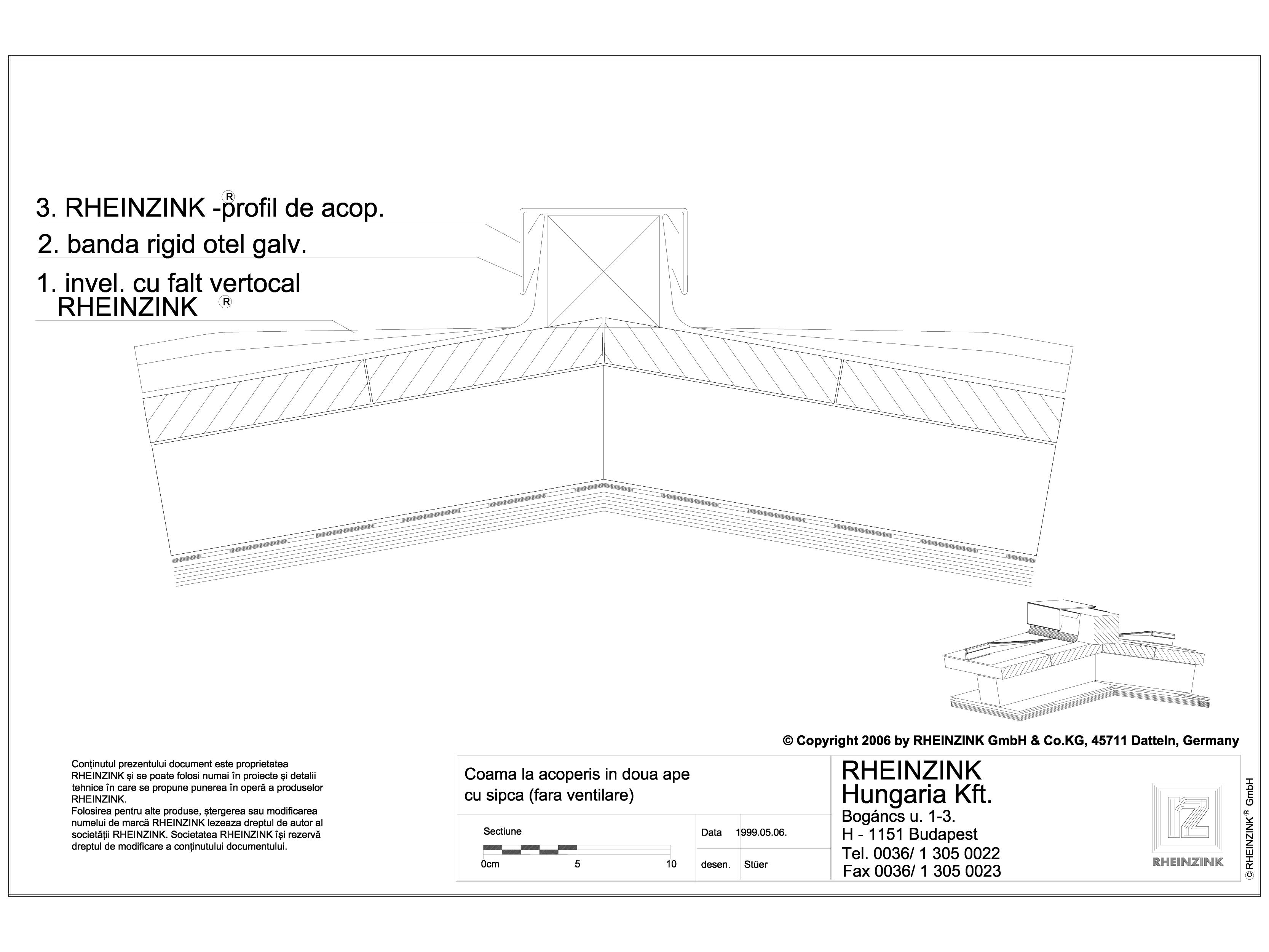 Pagina 1 - CAD-DWG Tabla plana pentru invelitori titan zinc - Coama la acoperis in doua ape cu sipca...