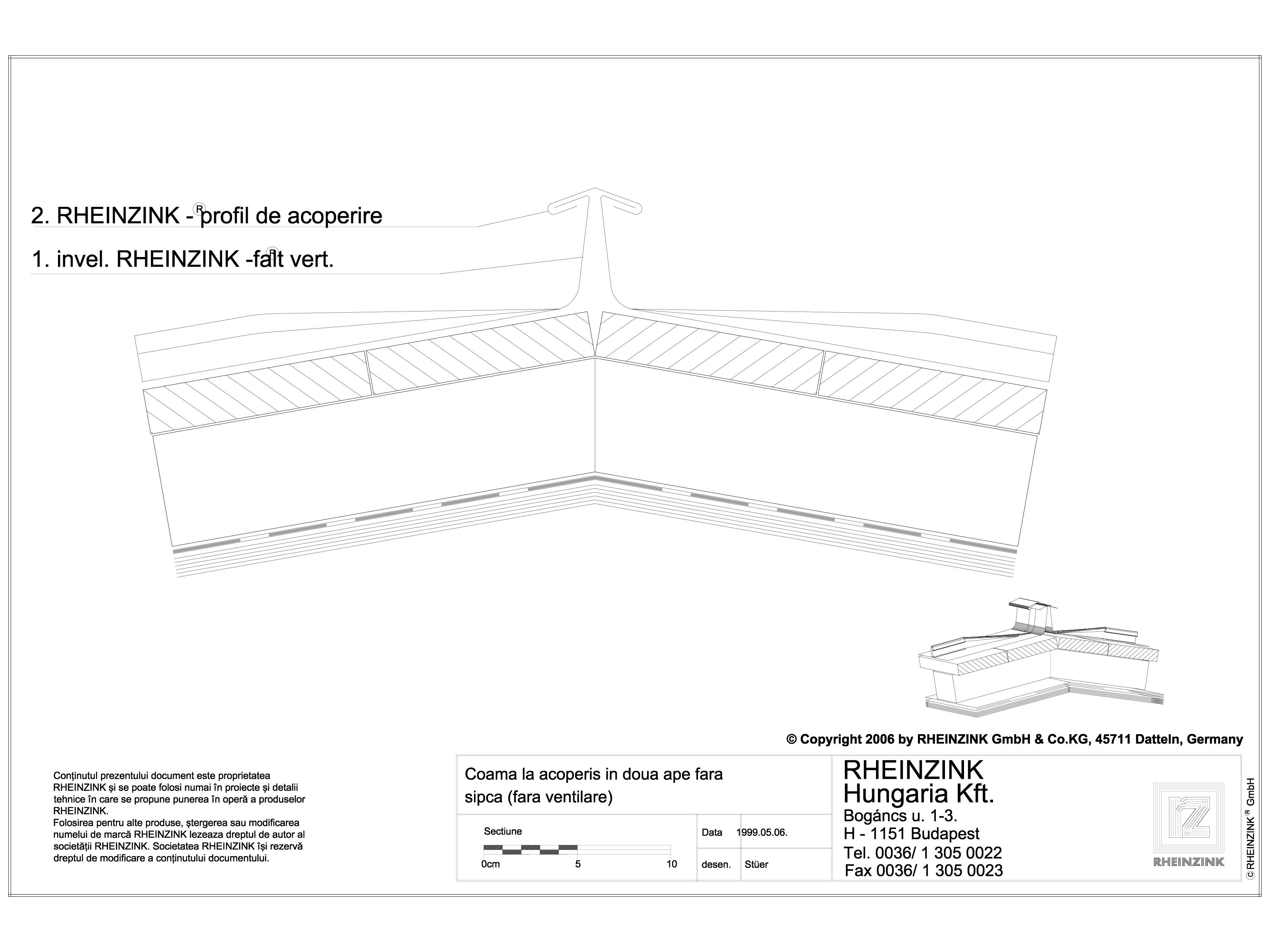 Pagina 1 - CAD-DWG Tabla plana pentru invelitori titan zinc - Coama la acoperis in doua ape fara...