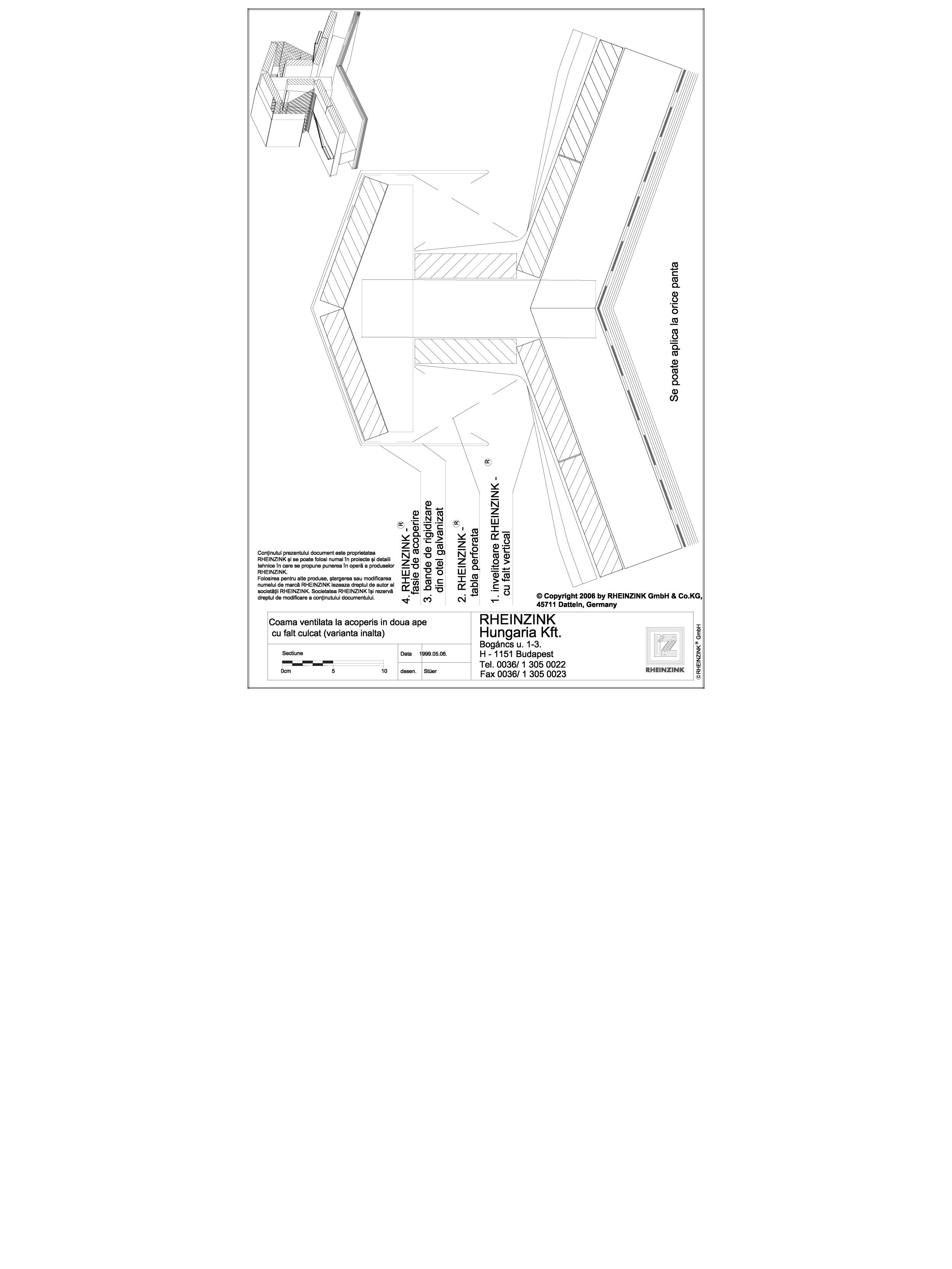 Pagina 1 - CAD-DWG Tabla plana pentru invelitori titan zinc - Coama ventilata la acoperis in doua...