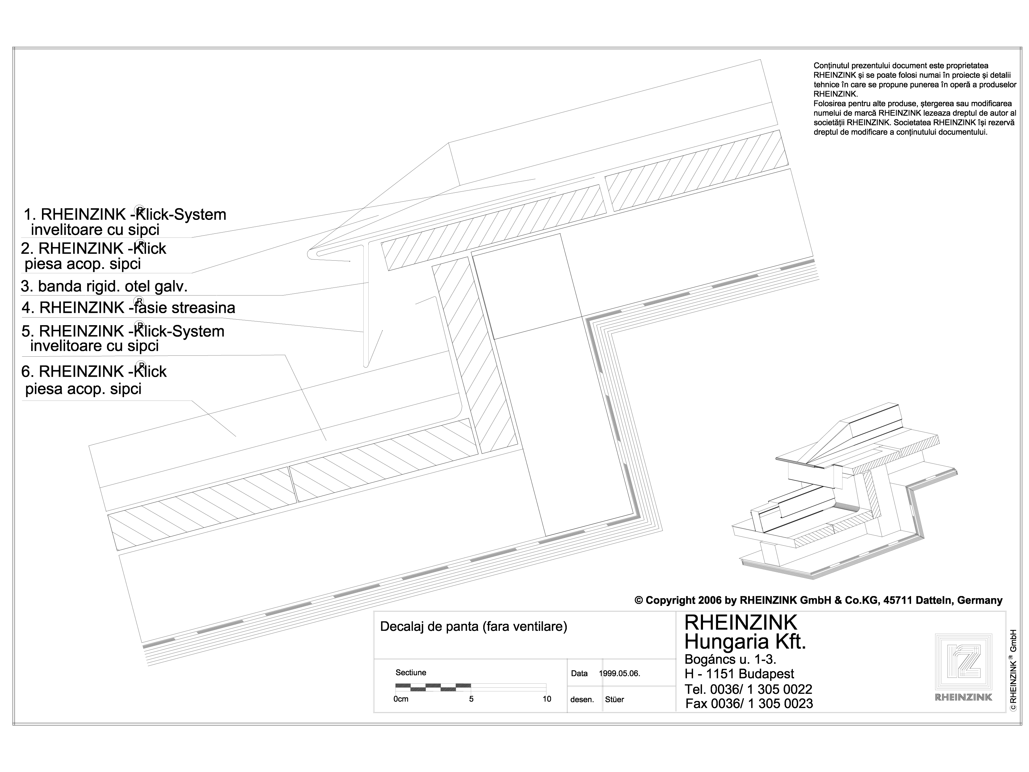 Pagina 1 - CAD-DWG Tabla plana pentru invelitori titan zinc - Decalaj de panta - 2D RHEINZINK...
