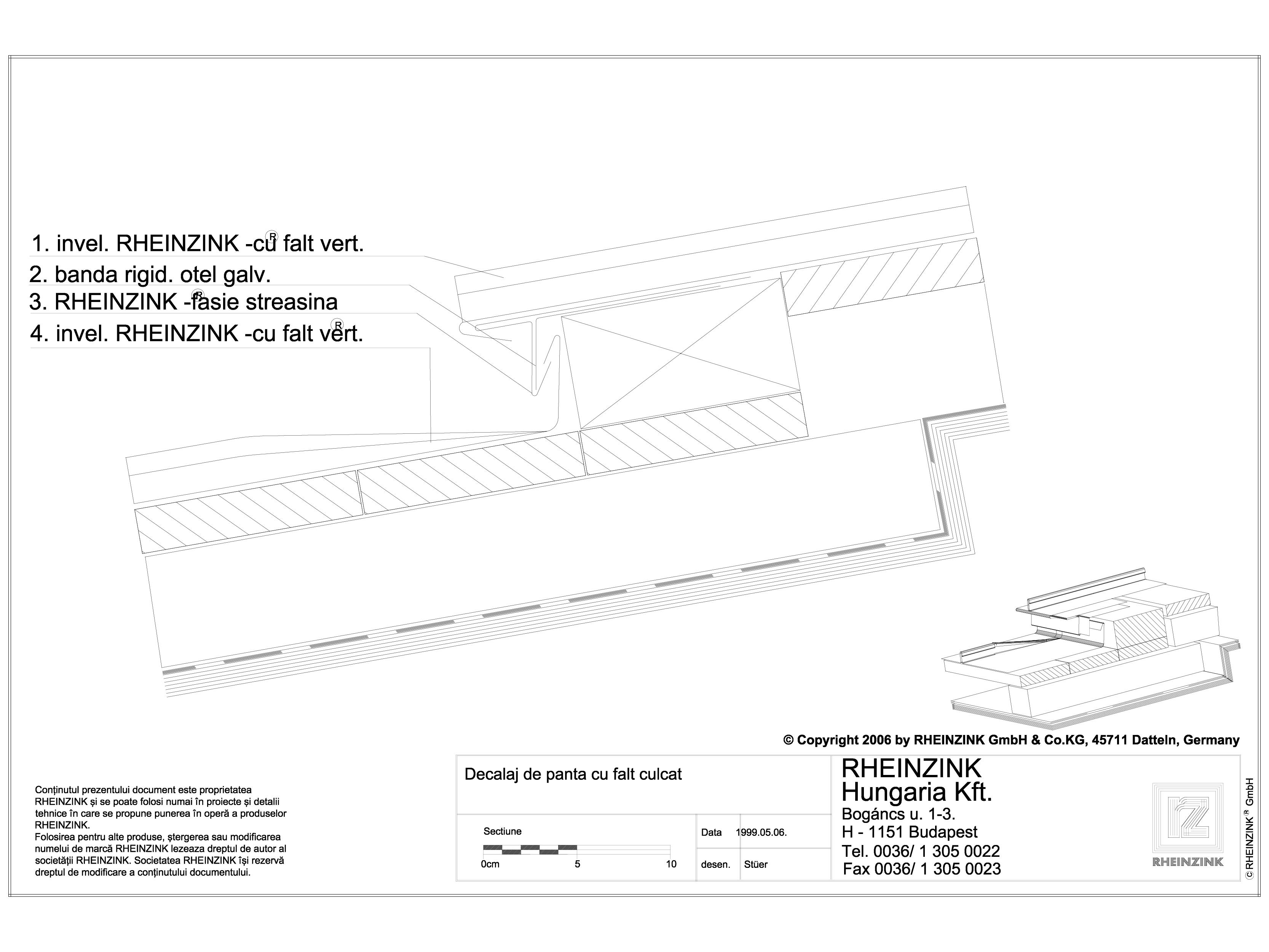 Pagina 1 - CAD-DWG Tabla plana pentru invelitori titan zinc - Decalaj de panta cu falt culcat - 2D...