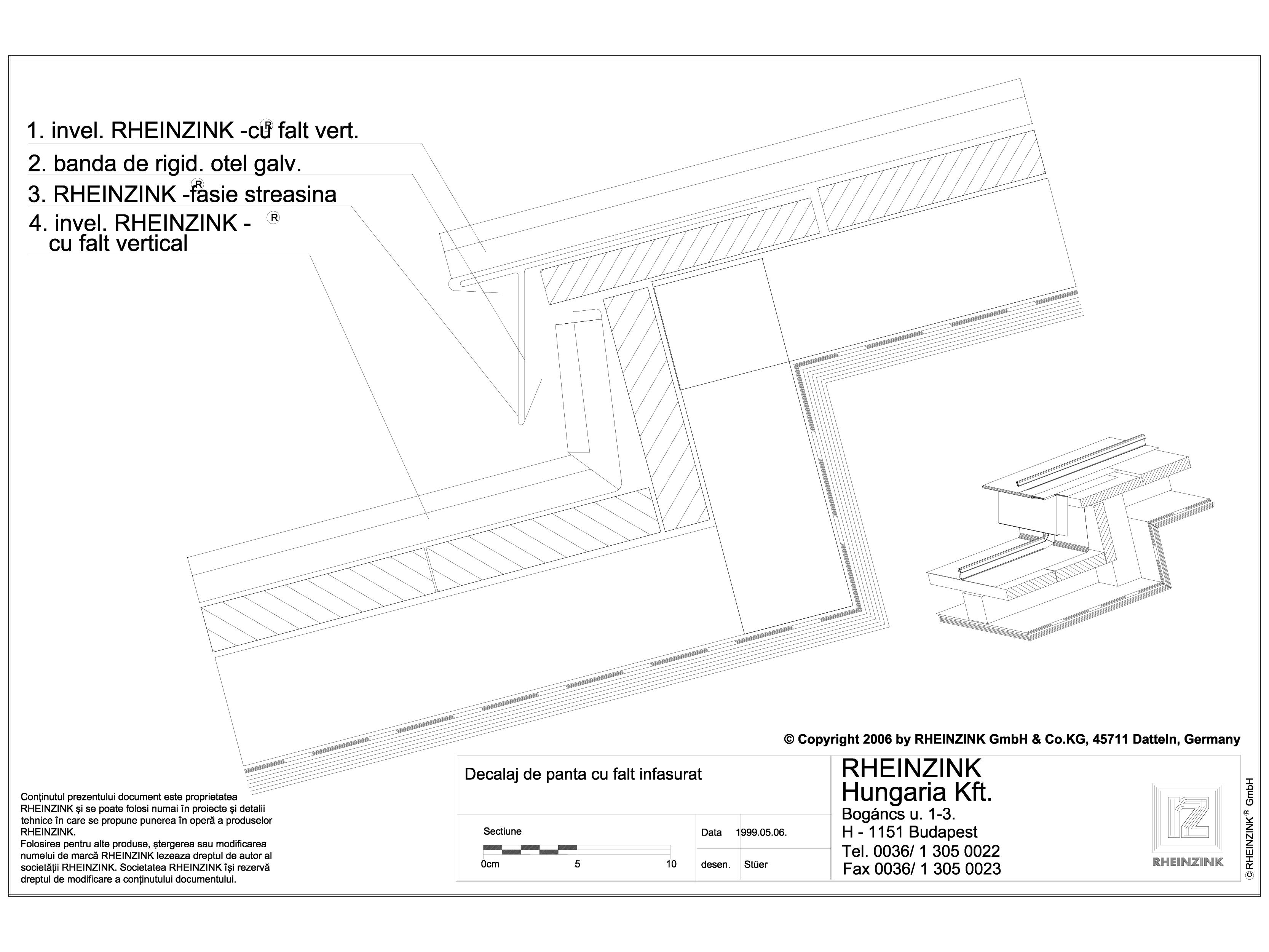 Pagina 1 - CAD-DWG Tabla plana pentru invelitori titan zinc - Decalaj de panta cu falt infasurat -...