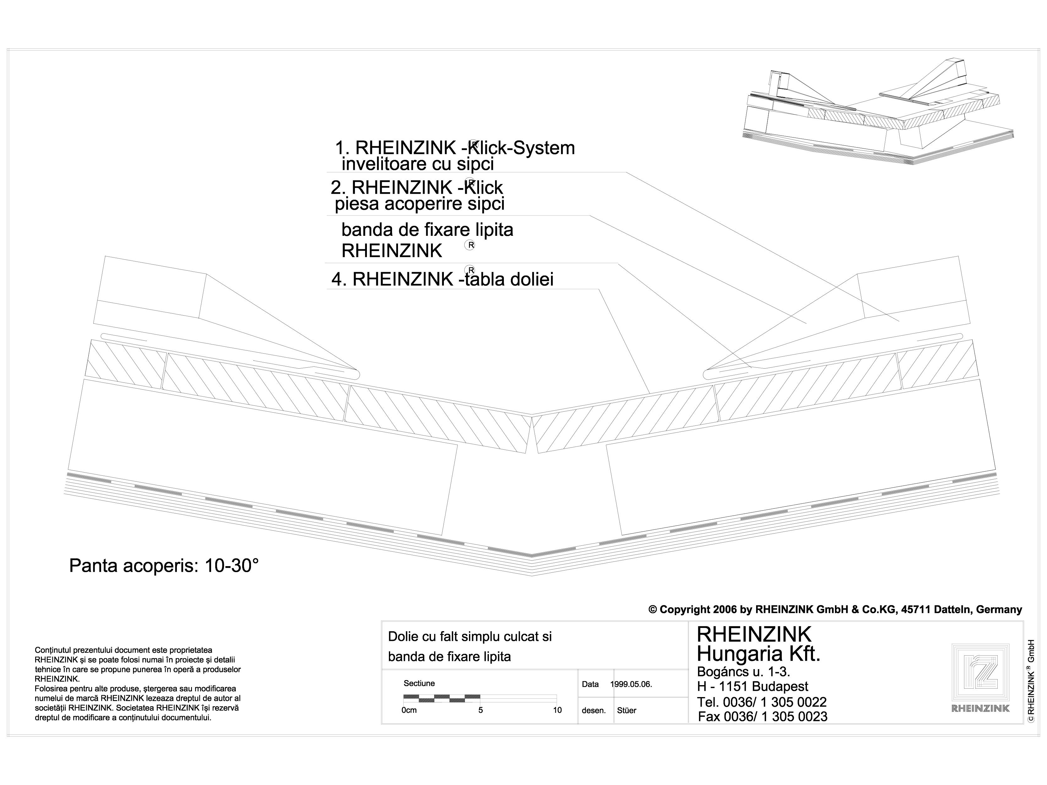 Pagina 1 - CAD-DWG Tabla plana pentru invelitori titan zinc - Dolie cu banda de fixare lipita, panta...