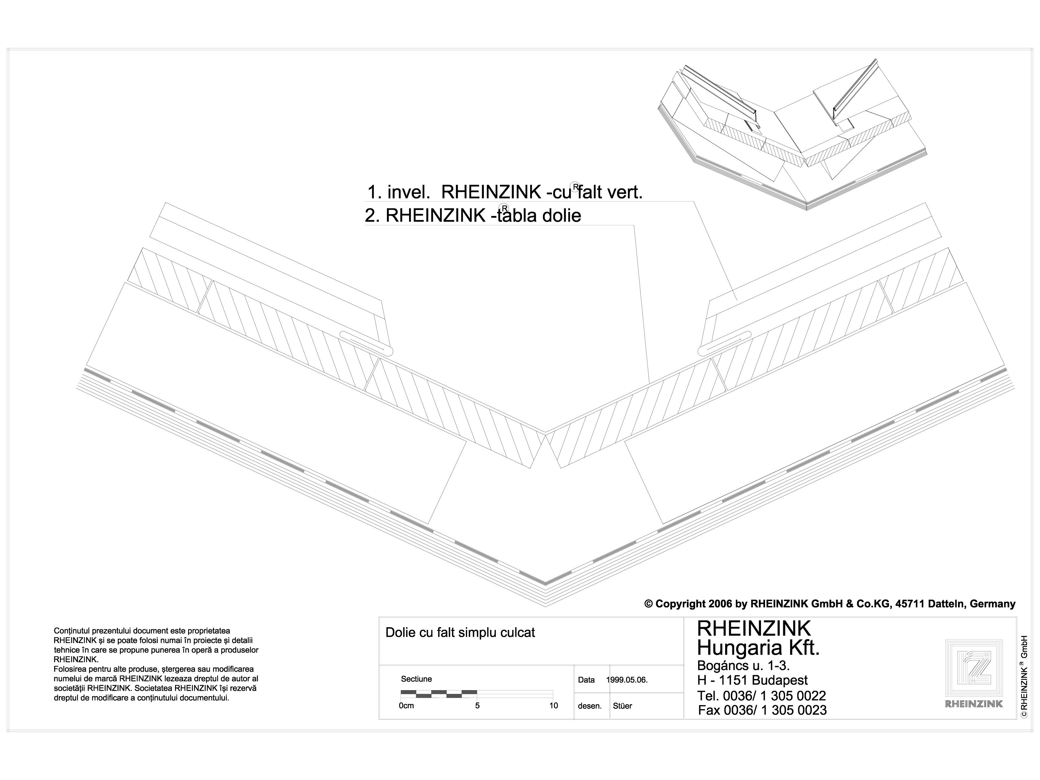 Pagina 1 - CAD-DWG Tabla plana pentru invelitori titan zinc - Dolie cu falt simplu culcat - 2D...