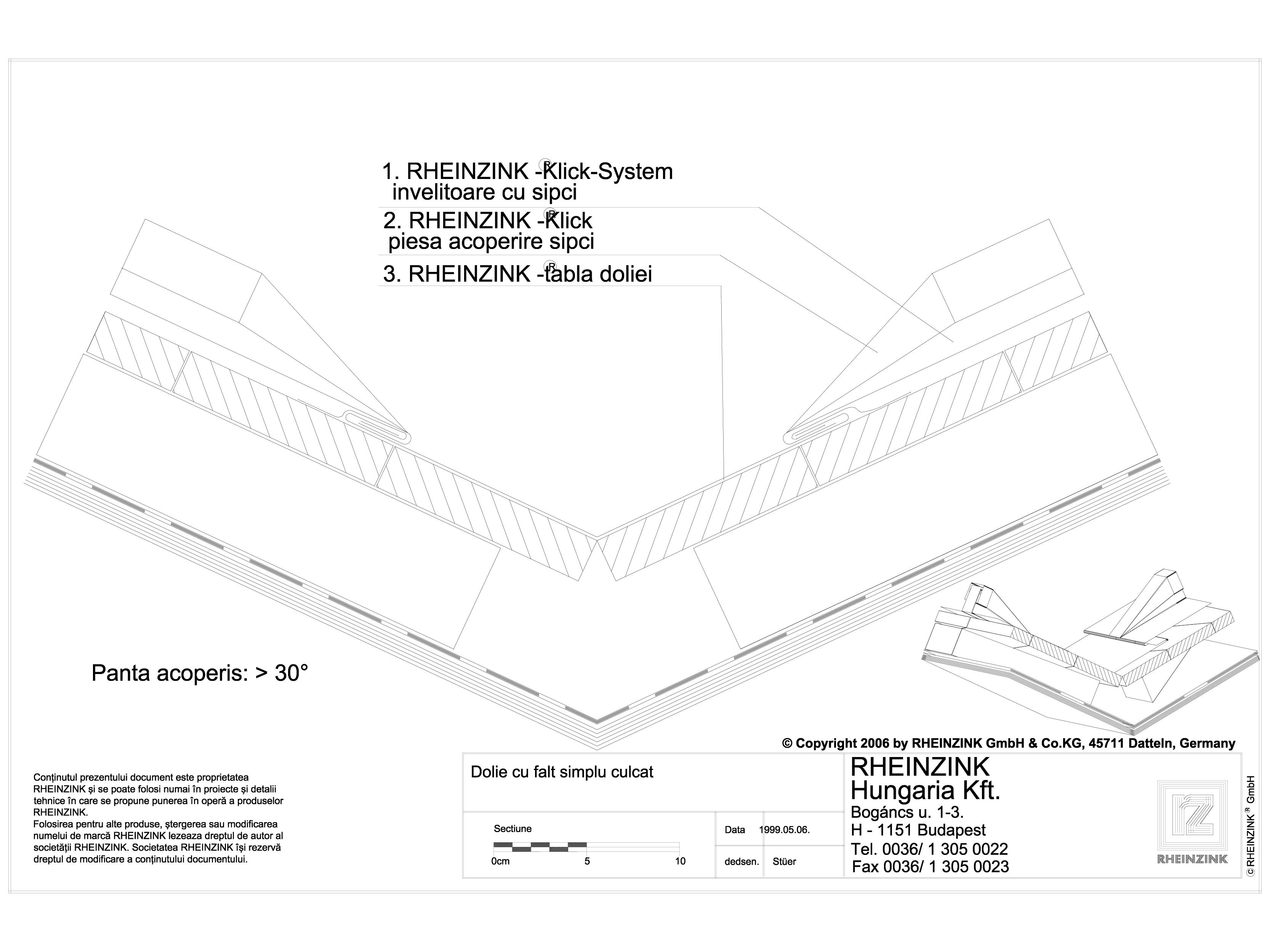 Pagina 1 - CAD-DWG Tabla plana pentru invelitori titan zinc - Dolie cu falt simplu culcat, panta...
