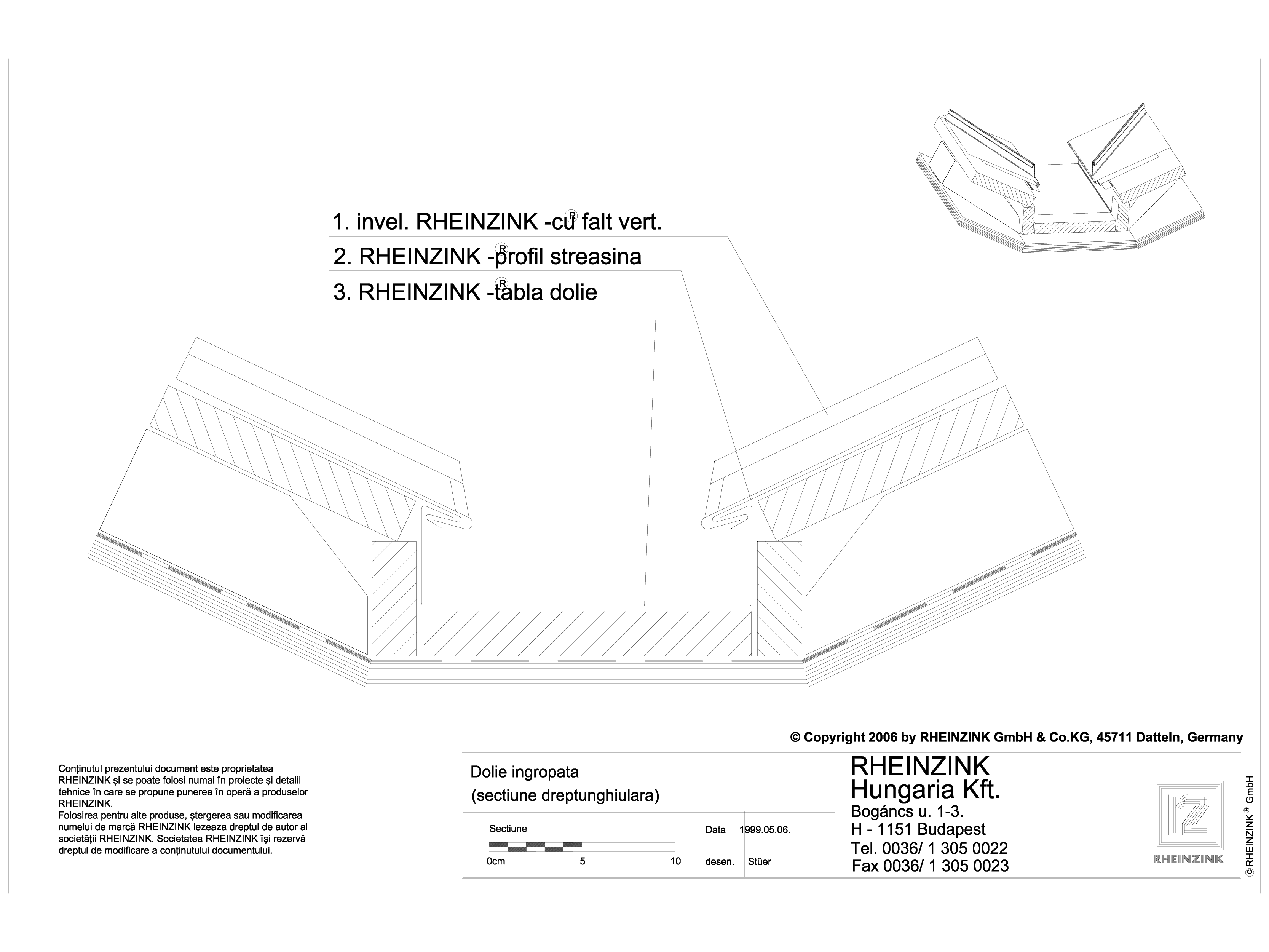 Pagina 1 - CAD-DWG Tabla plana pentru invelitori titan zinc - Dolie ingropata, sectiune...