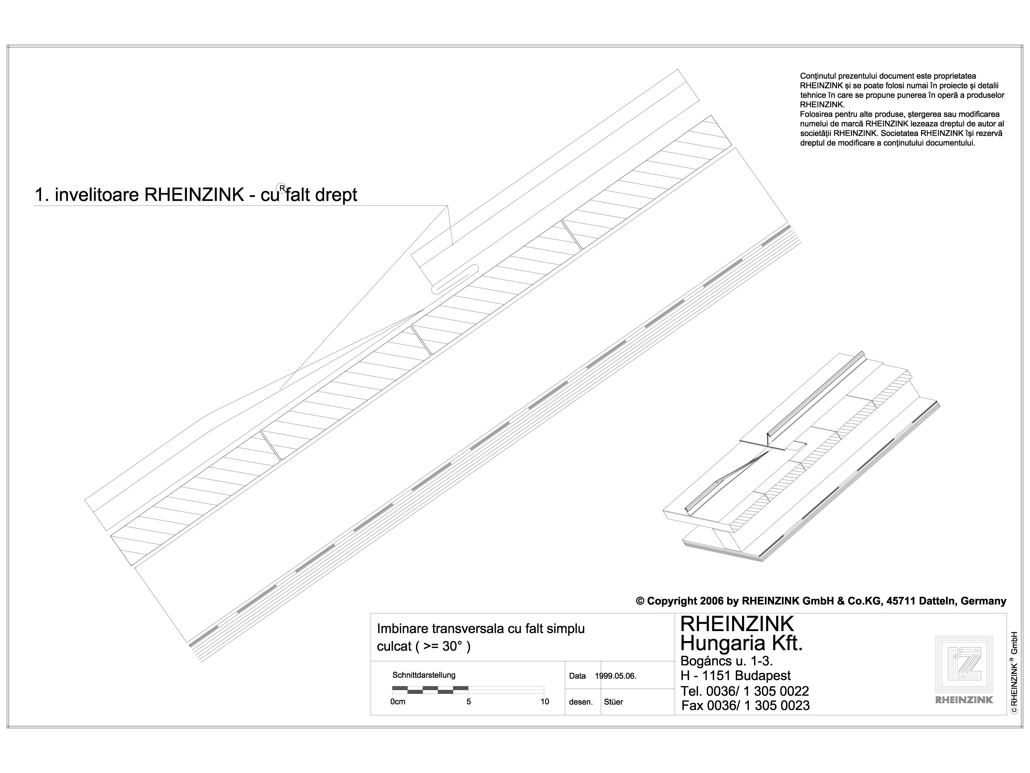 Pagina 1 - CAD-DWG Tabla plana pentru invelitori titan zinc - Imbinare tranversala cu falt simplu...