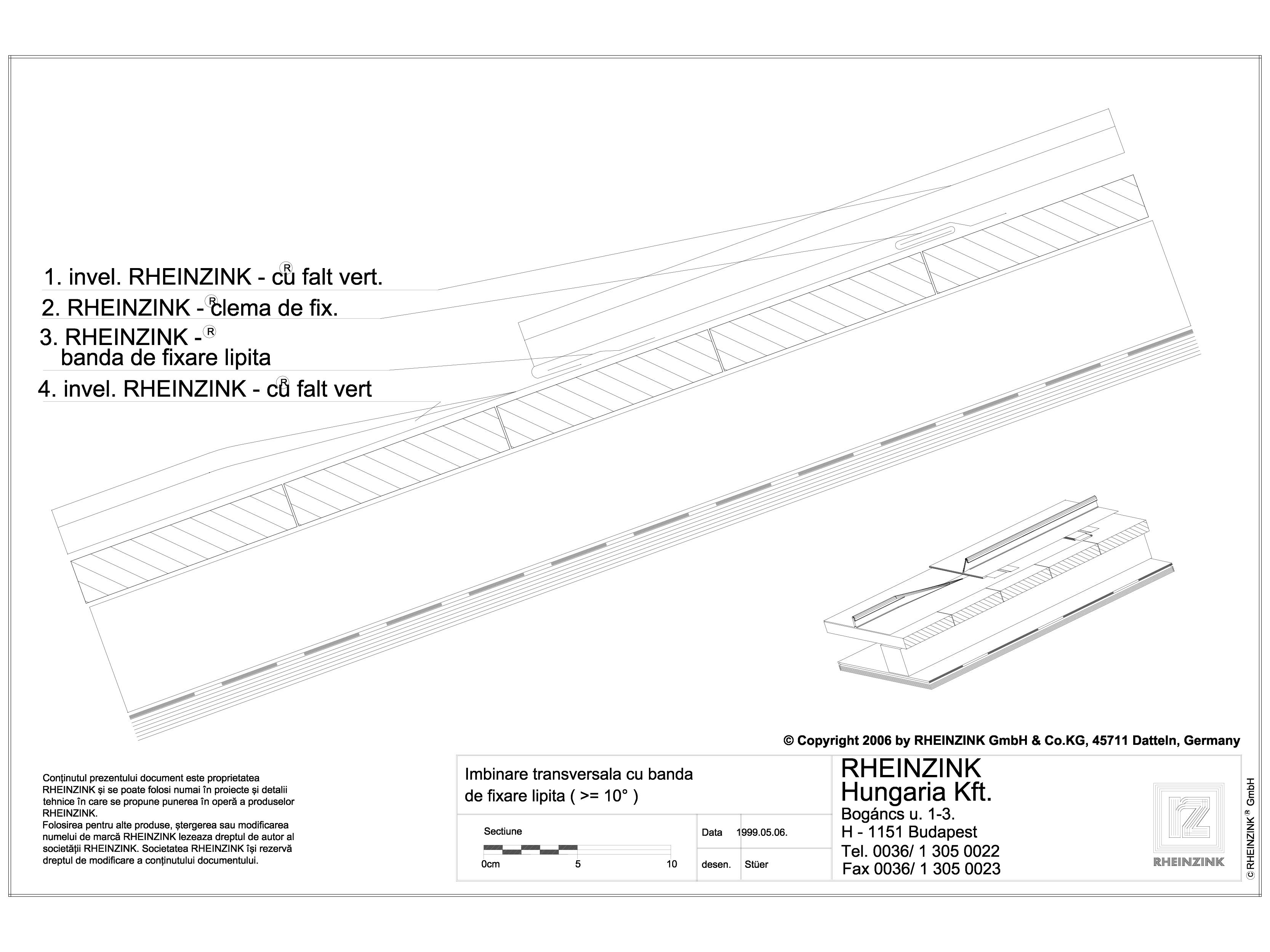 Pagina 1 - CAD-DWG Tabla plana pentru invelitori titan zinc - Imbinarea tranversala cu banda de...