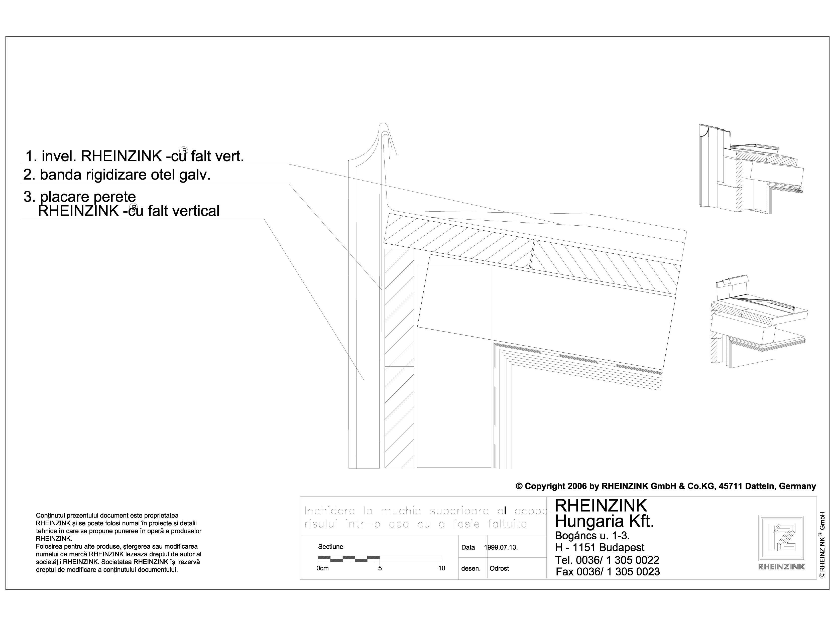 Pagina 1 - CAD-DWG Tabla plana pentru invelitori titan zinc - Inchidere la muchia superioara al...