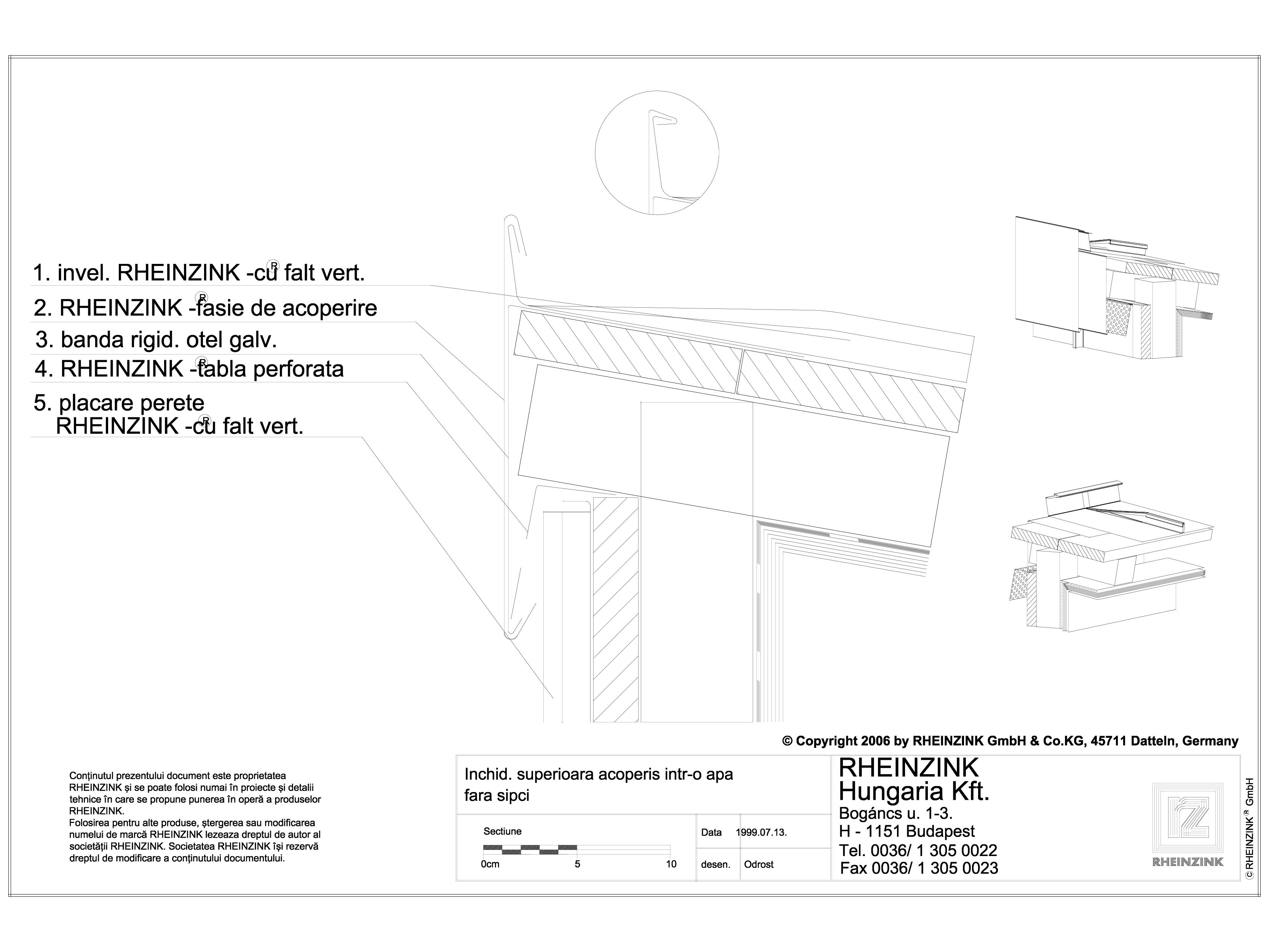 Pagina 1 - CAD-DWG Tabla plana pentru invelitori titan zinc - Inchidere superioara acoperis intr-o...