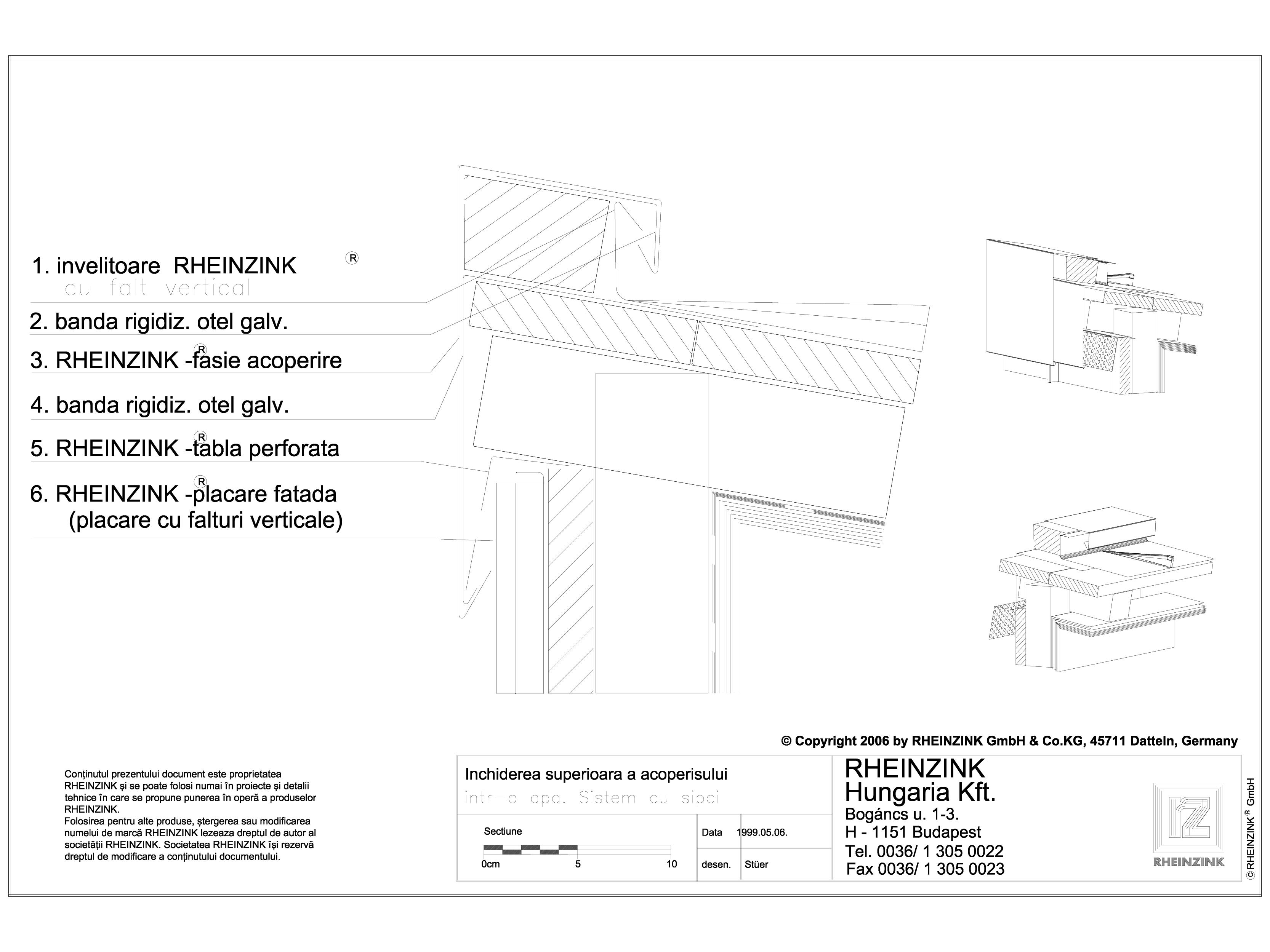 Pagina 1 - CAD-DWG Tabla plana pentru invelitori titan zinc - Inchidere superioara al acoperisului...