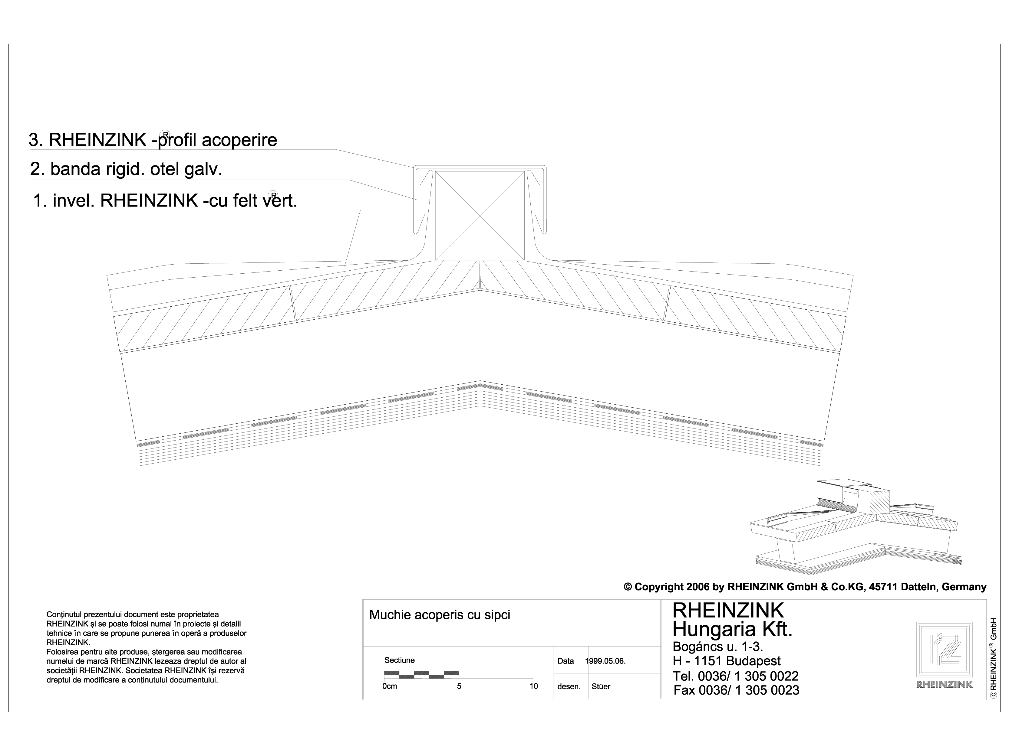 Pagina 1 - CAD-DWG Tabla plana pentru invelitori titan zinc - Muchie acoperis cu sipci - 2D...