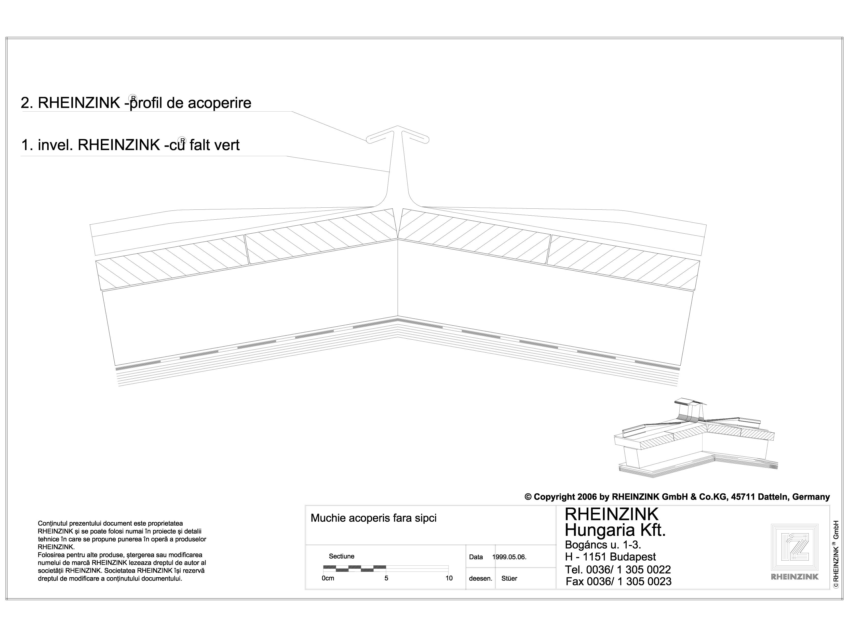 Pagina 1 - CAD-DWG Tabla plana pentru invelitori titan zinc - Muchie acoperis fara sipci - 2D...