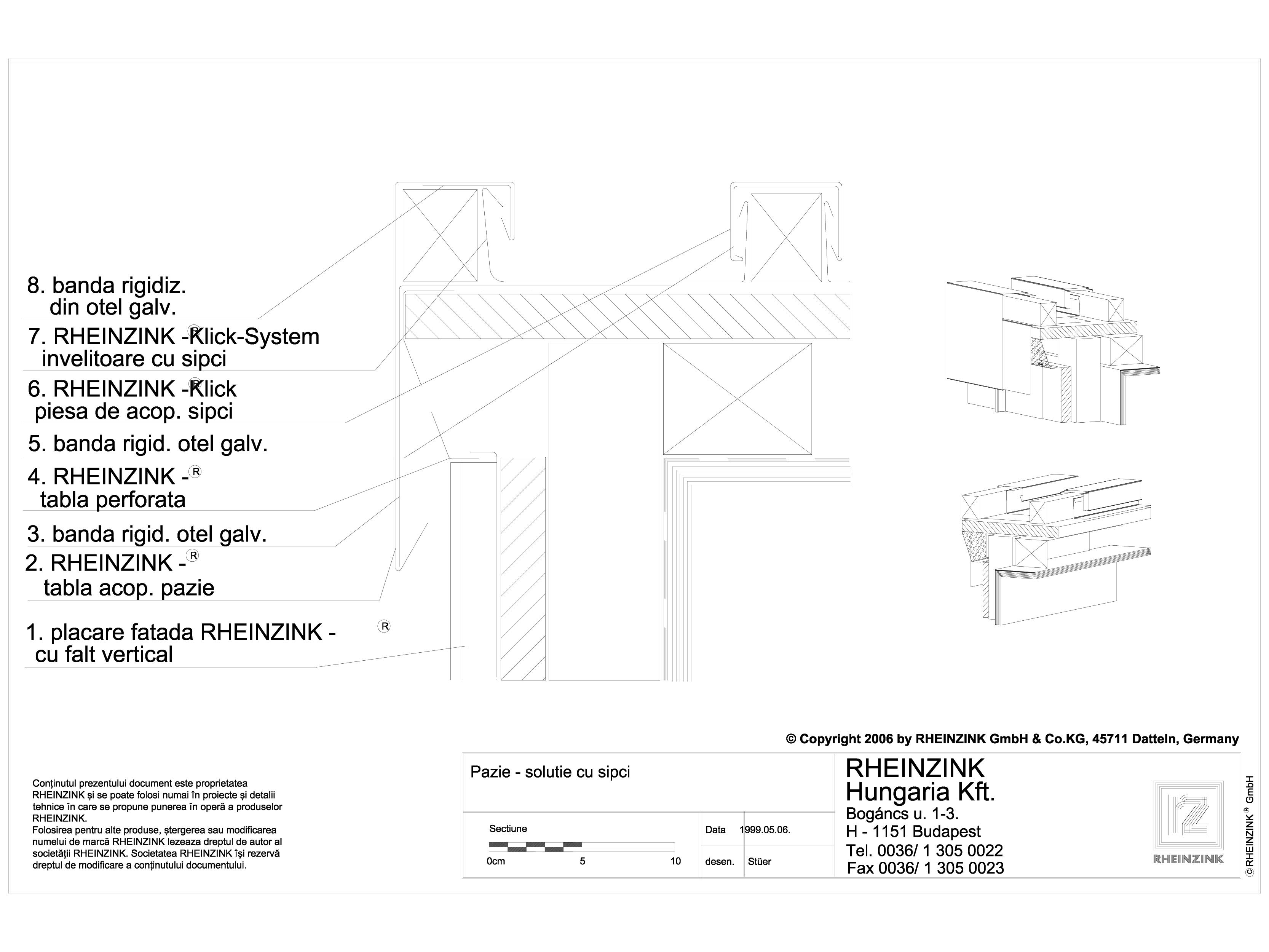 Pagina 1 - CAD-DWG Tabla plana pentru invelitori titan zinc - Pazii cu sipci - 2D RHEINZINK Detaliu ...
