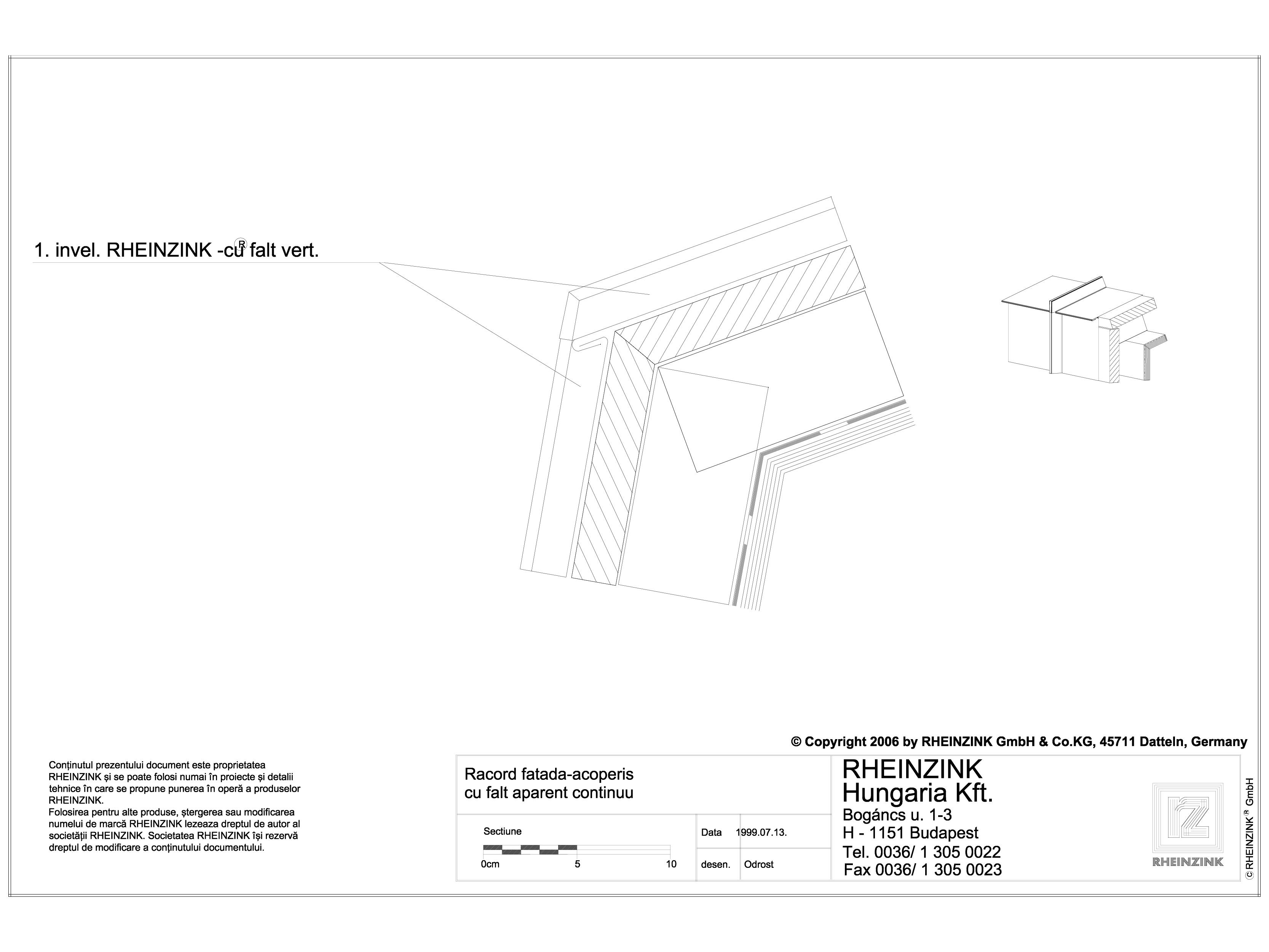 Pagina 1 - CAD-DWG Tabla plana pentru invelitori titan zinc - Racord fatada-acoperis cu falt aparent...