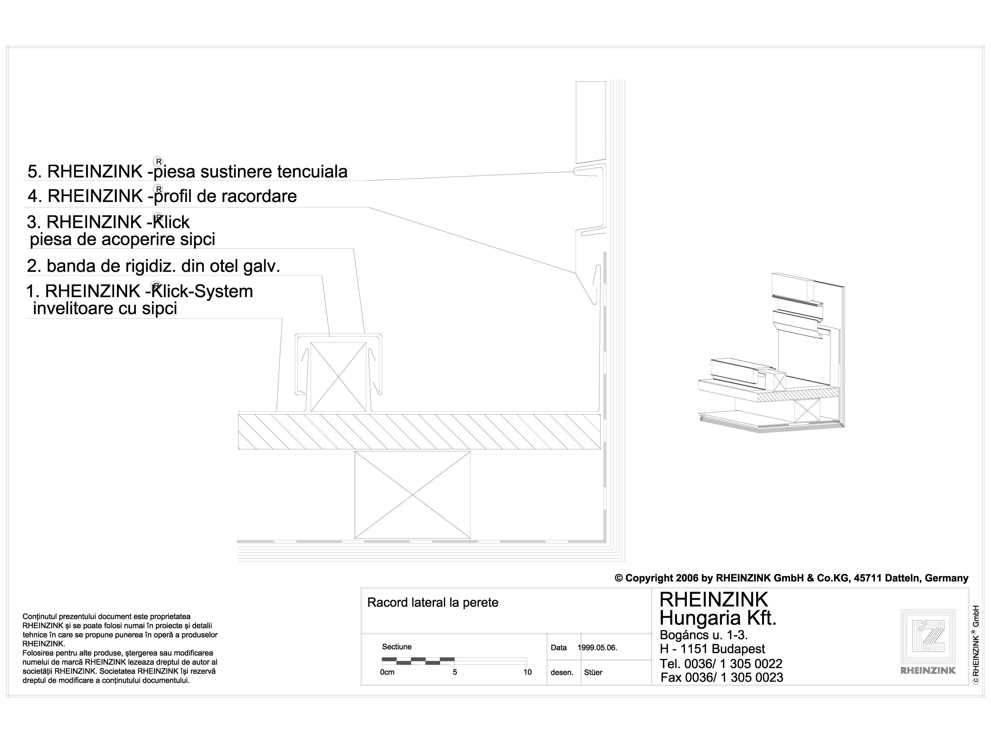 Pagina 1 - CAD-DWG Tabla plana pentru invelitori titan zinc - Racordare laterala la perete tencuit -...