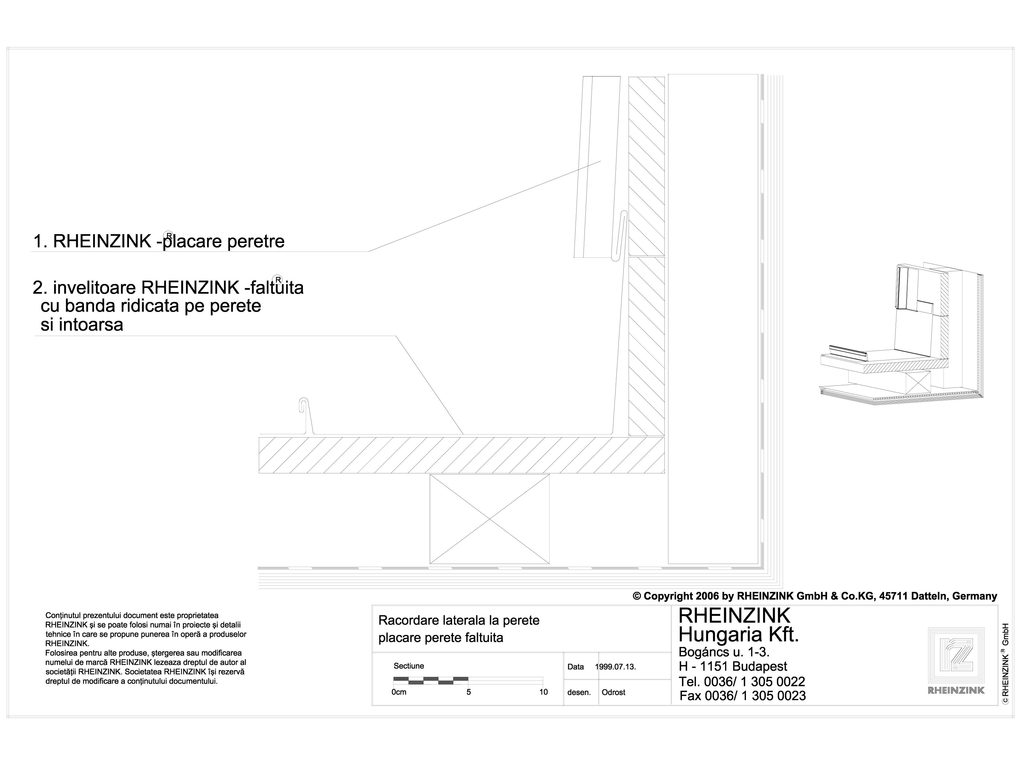 Pagina 1 - CAD-DWG Tabla plana pentru invelitori titan zinc - Racordare laterala la perete, placare ...