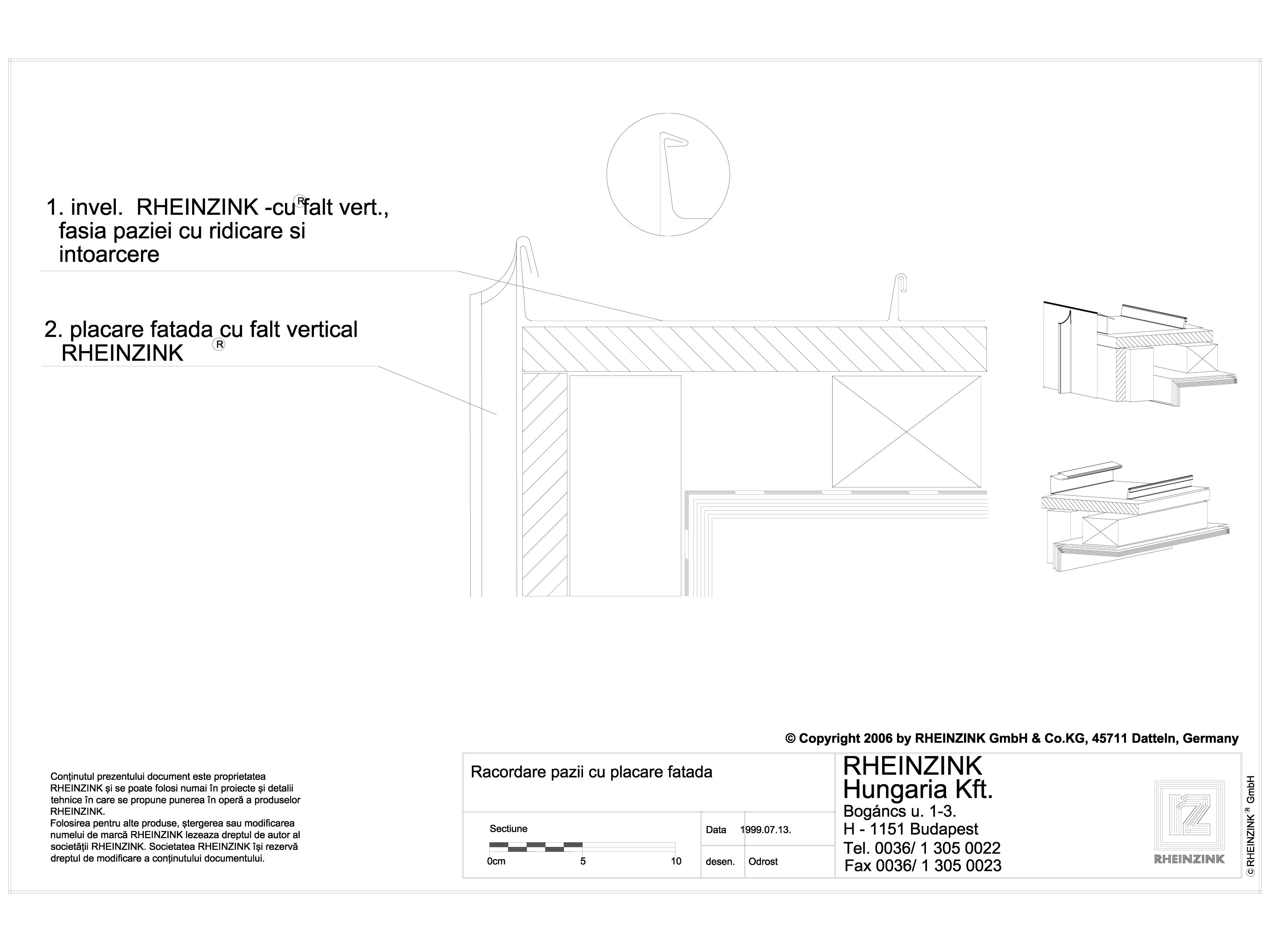 Pagina 1 - CAD-DWG Tabla plana pentru invelitori titan zinc - Racordare pazii cu placare fatada - 2D...