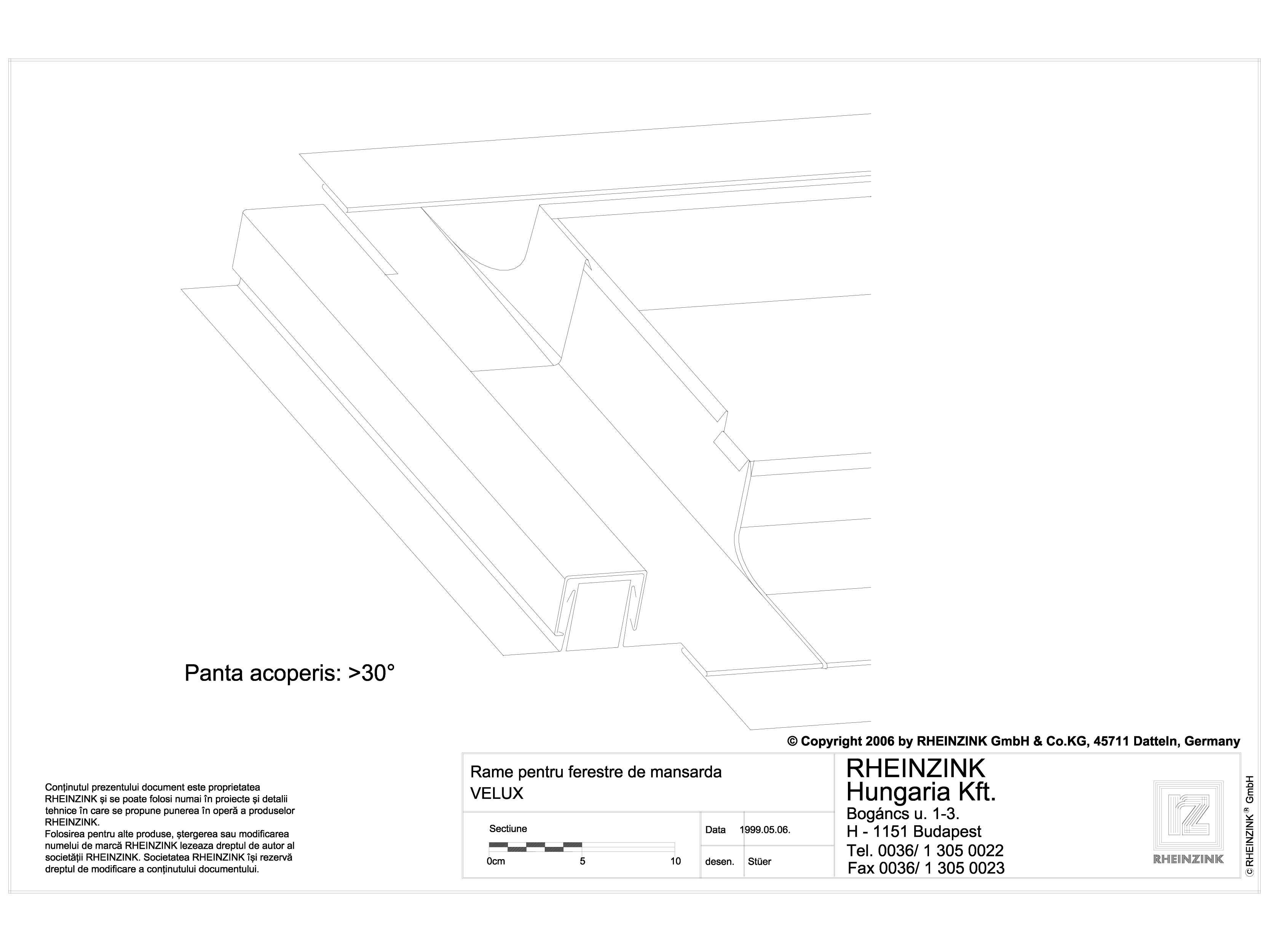 Pagina 1 - CAD-DWG Tabla plana pentru invelitori titan zinc - Racordarea invelitorilor RHEINZINK...