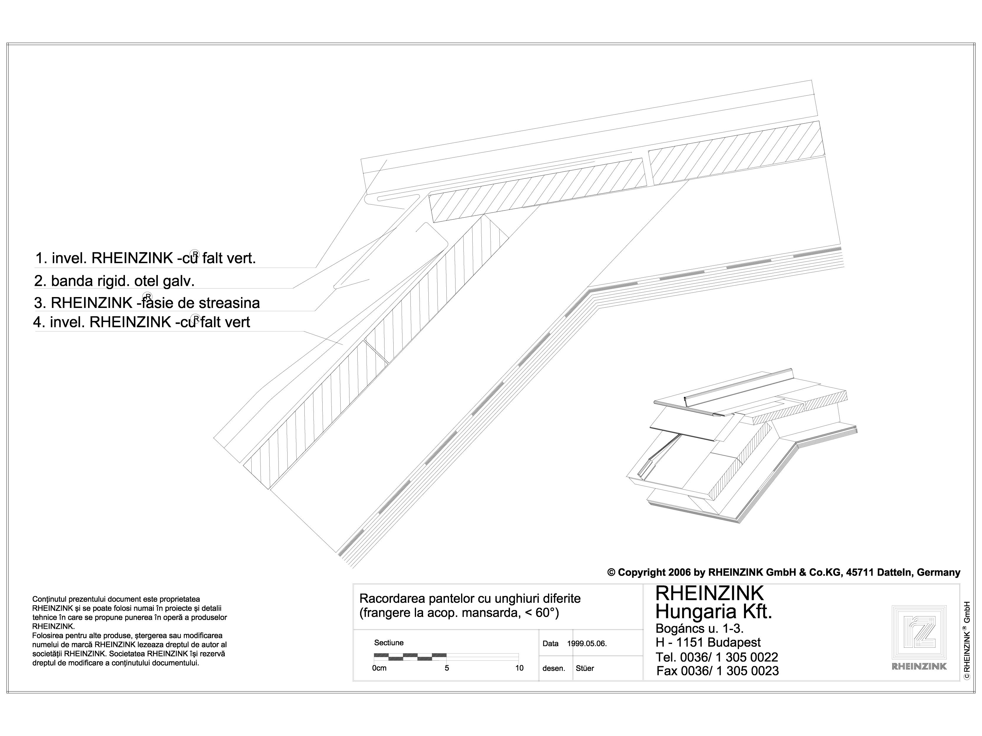 Pagina 1 - CAD-DWG Tabla plana pentru invelitori titan zinc - Racordarea pantelor cu unghiuri...