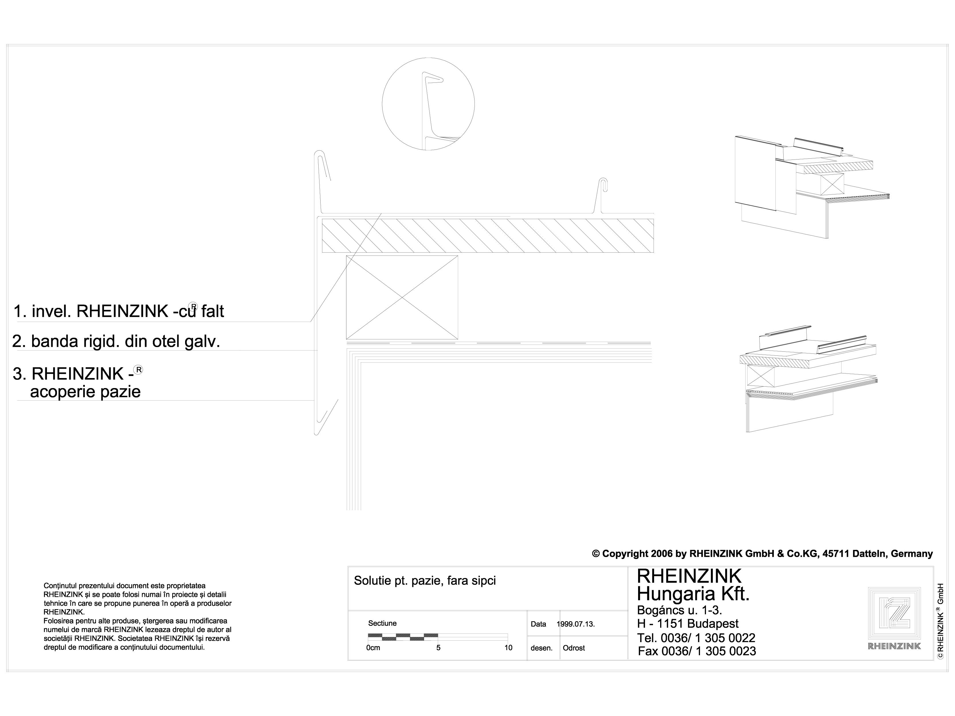 Pagina 1 - CAD-DWG Tabla plana pentru invelitori titan zinc - Solutie pentru pazie, fara sipci - 2D ...