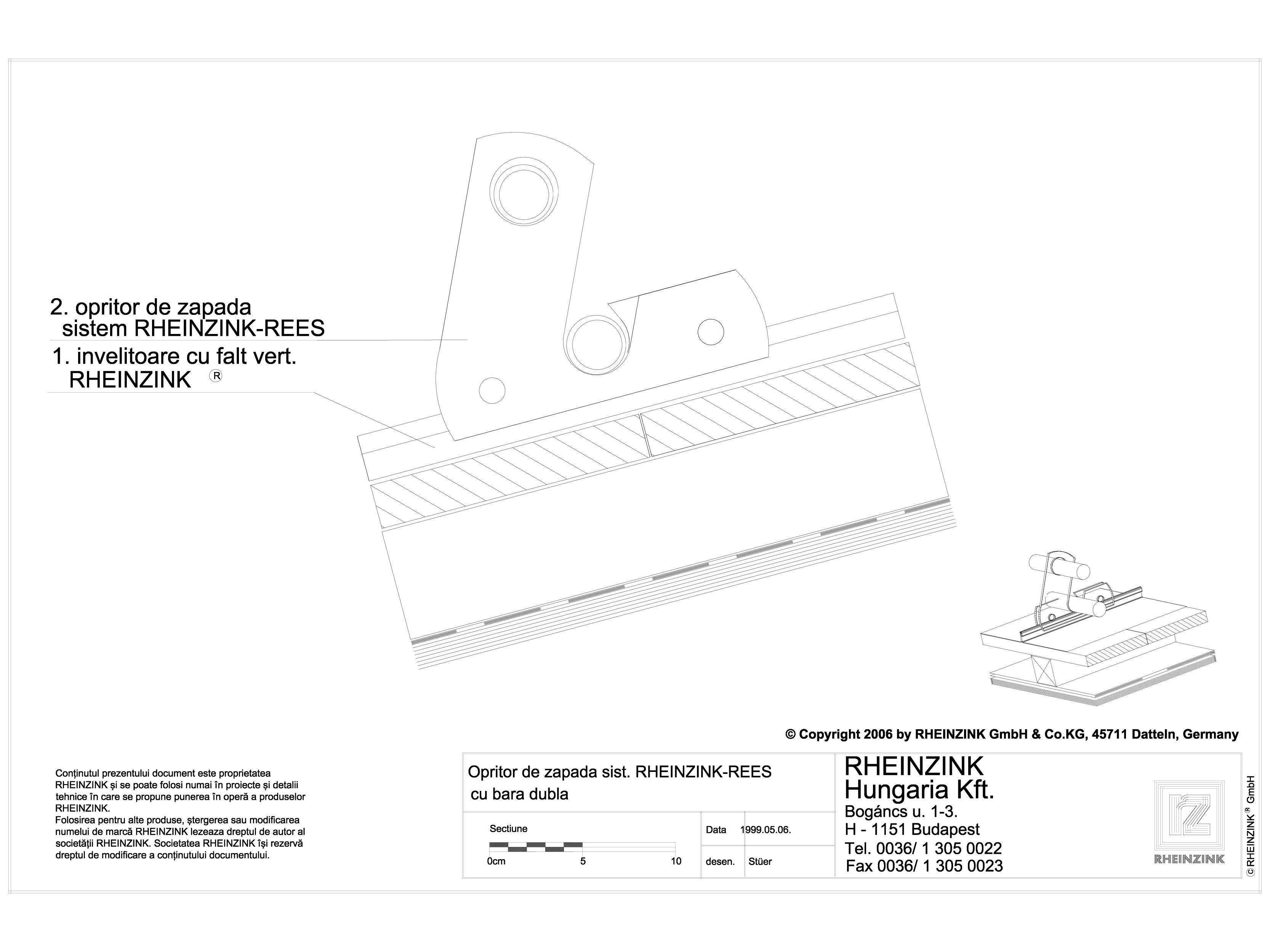 Pagina 1 - CAD-DWG Tabla plana pentru invelitori titan zinc - Opritor de zapada sistemul REES cu...