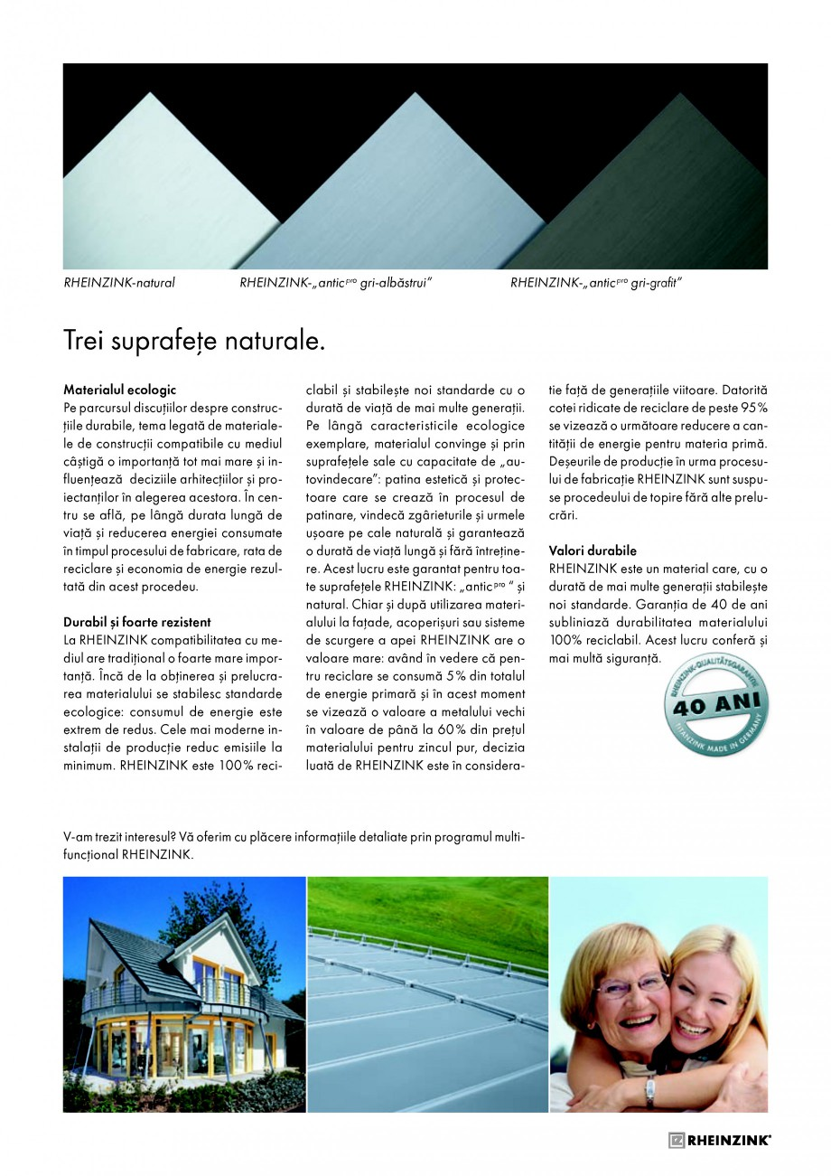 Pagina 7 - Tabla plana pentru invelitori titan zinc - Detalii arhitectonice RHEINZINK RHEINZINK®...