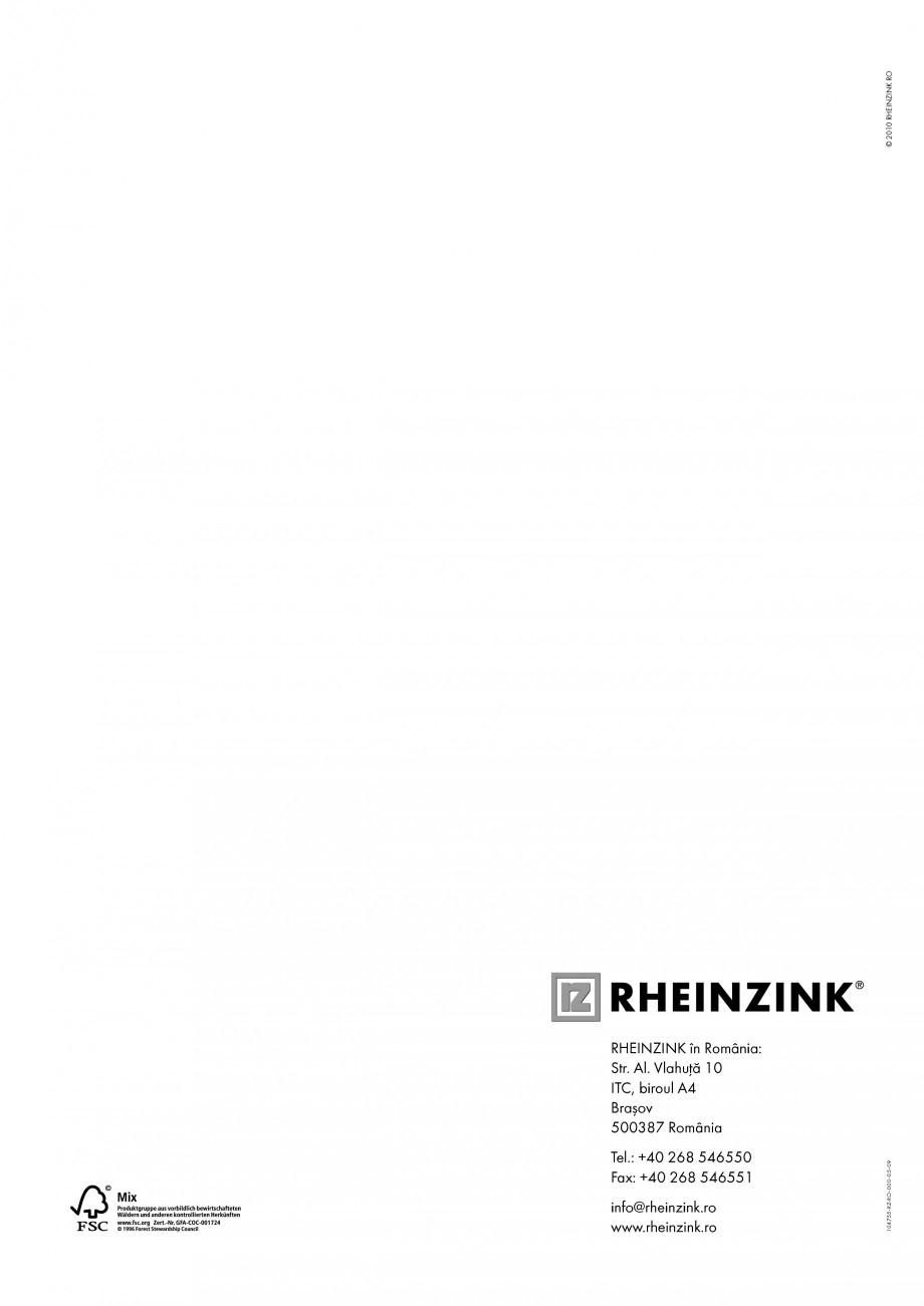 Pagina 8 - Tabla plana pentru invelitori titan zinc - Detalii arhitectonice RHEINZINK RHEINZINK®...