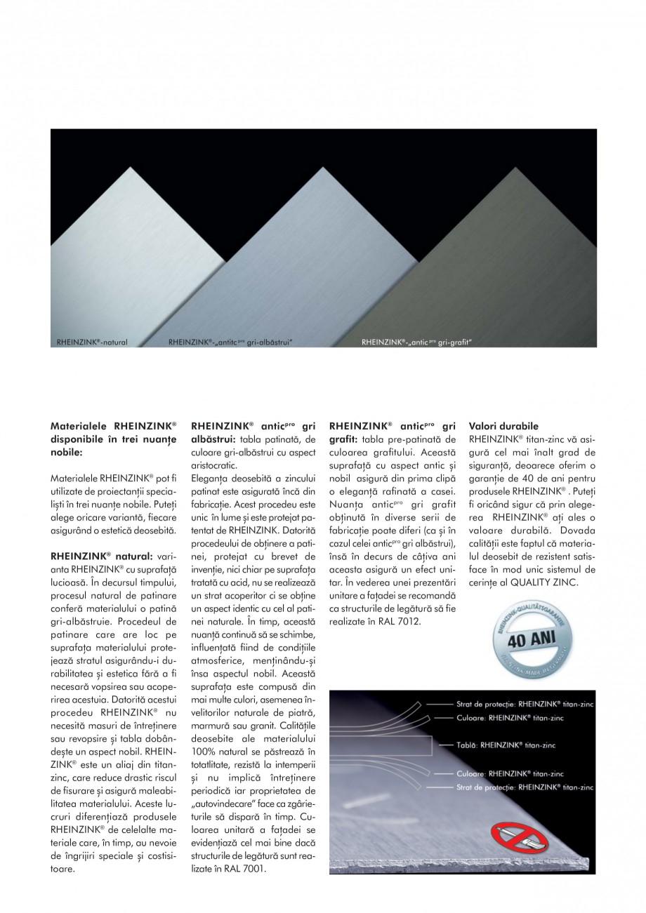 Pagina 2 - Tabla plana pentru invelitori titan zinc - Sisteme de invelitori RHEINZINK RHEINZINK®...