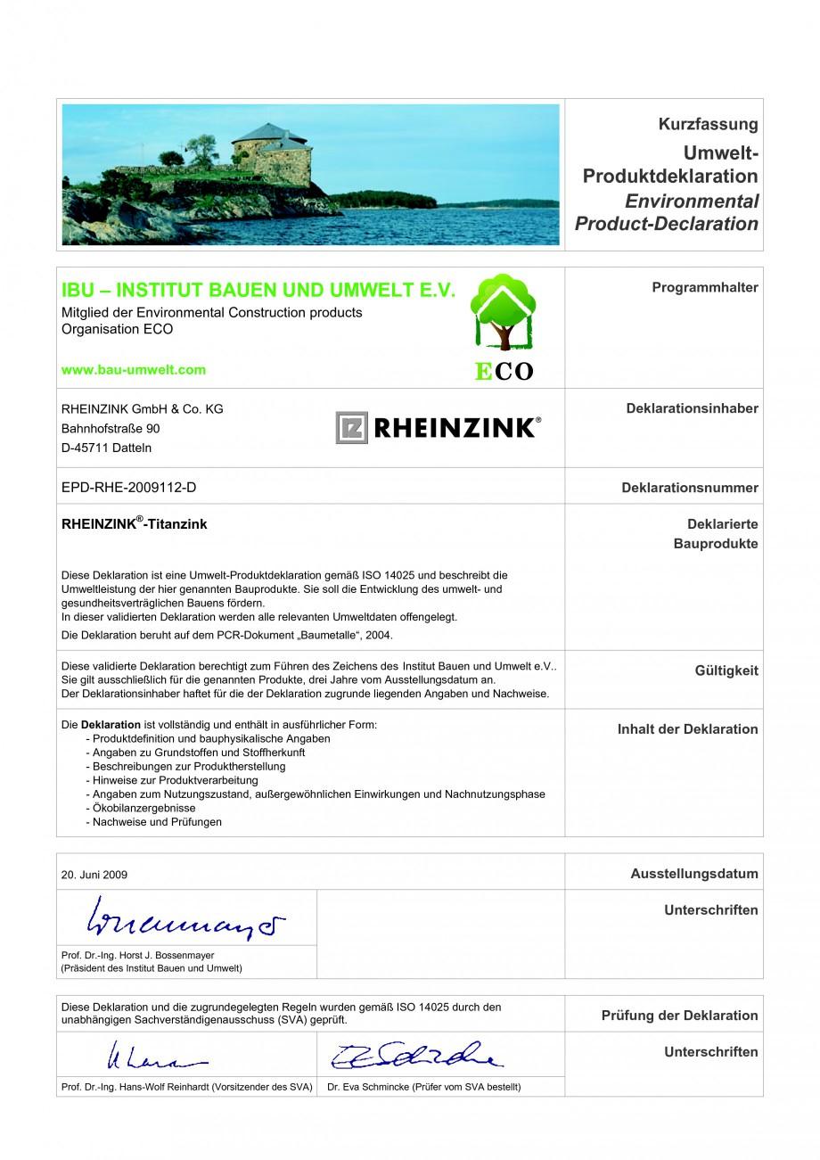 Pagina 2 - Tabla plana pentru invelitori titan zinc RHEINZINK Catalog, brosura Romana 4025 Umwelt...