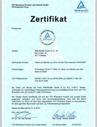 Certificat de calitate pentru tabla plana pentru invelitori