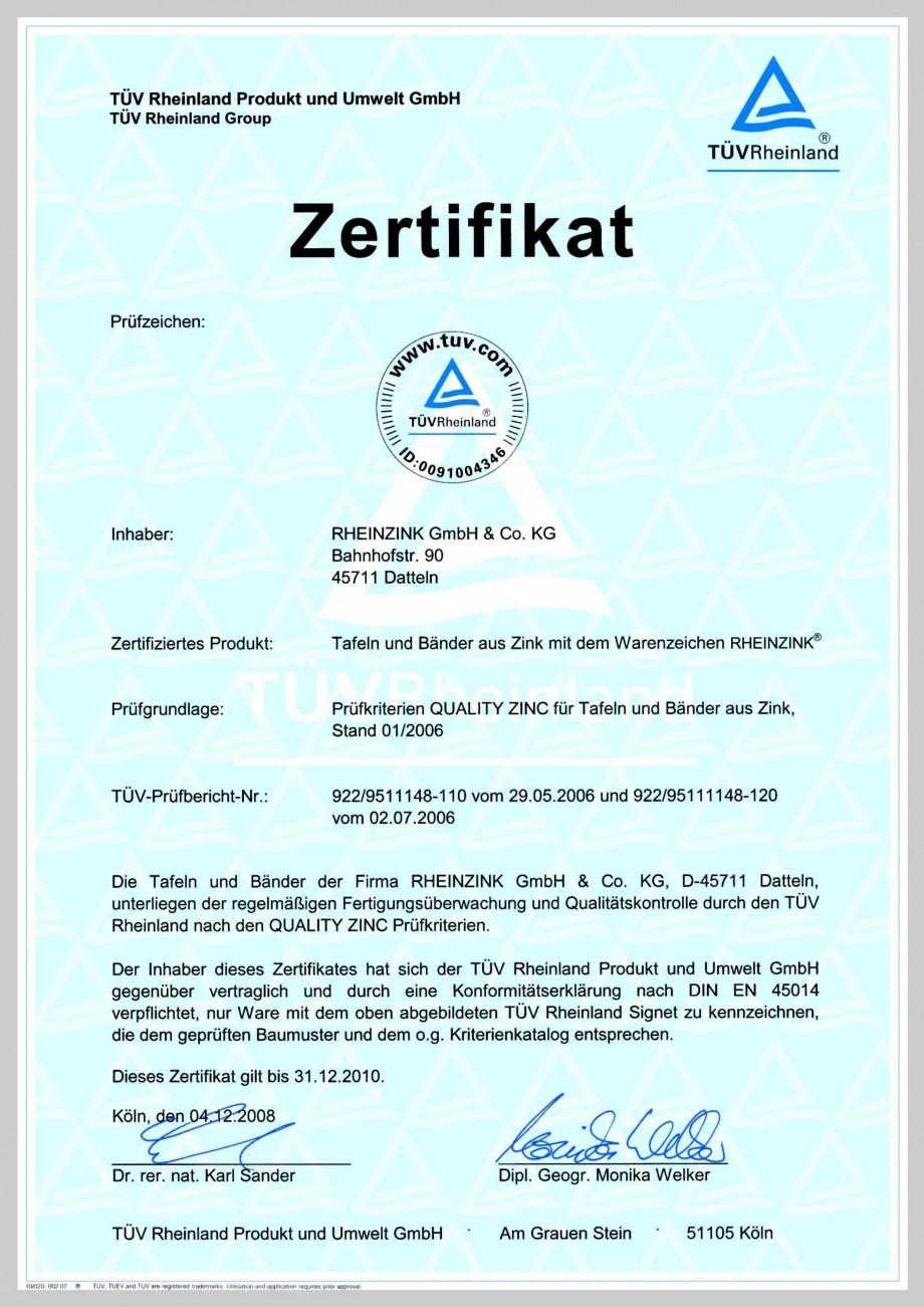 Pagina 1 - Certificat de calitate pentru tabla plana pentru invelitori RHEINZINK RHEINZINK®...