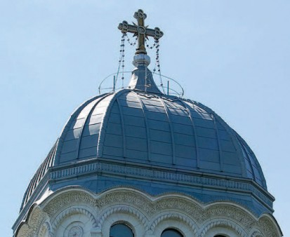 Biserica Sf Nicolae Vladica - detaliu acoperis RHEINZINK® Tabla plana pentru invelitori titan zinc - Biserica