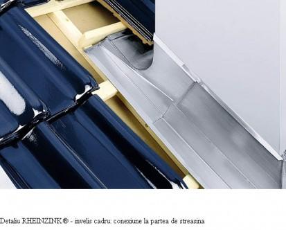 Detaliu RHEINZINK® - invelis cadru conexiune la partea de streasina RHEINZINK® Tabla plana pentru invelitori titan