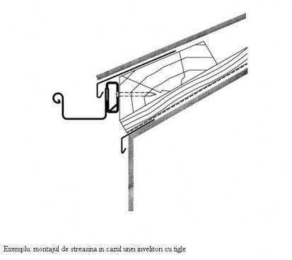 Exemplu de montaj streasina in cazul unei invelitori cu tigle RHEINZINK® Tabla plana pentru invelitori titan