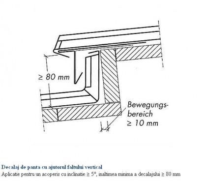 Decalaj de panta cu ajutorul faltului vertical - aplicatie pentru un acoperis cu inclinatie mai mare