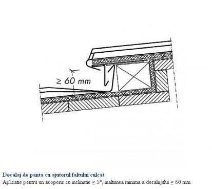 Decalaj de panta cu ajutorul faltului culcat - aplicatie pentru un acoperis cu inclinatie mai mare