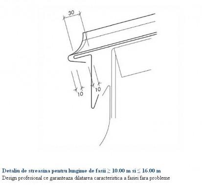 Detaliu de streasina pentru lungime de fasii intre 10-16 m RHEINZINK® Tabla plana pentru invelitori titan
